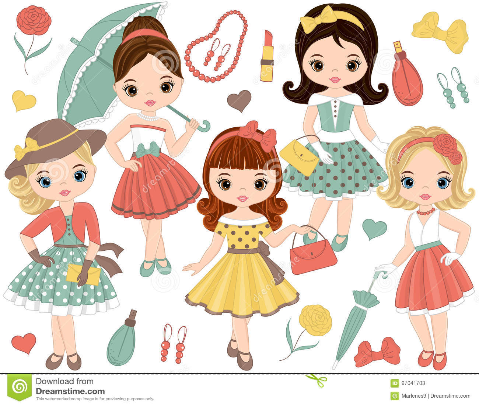 O vetor ajustou-se com as meninas bonitos em acessórios retros do estilo e de forma