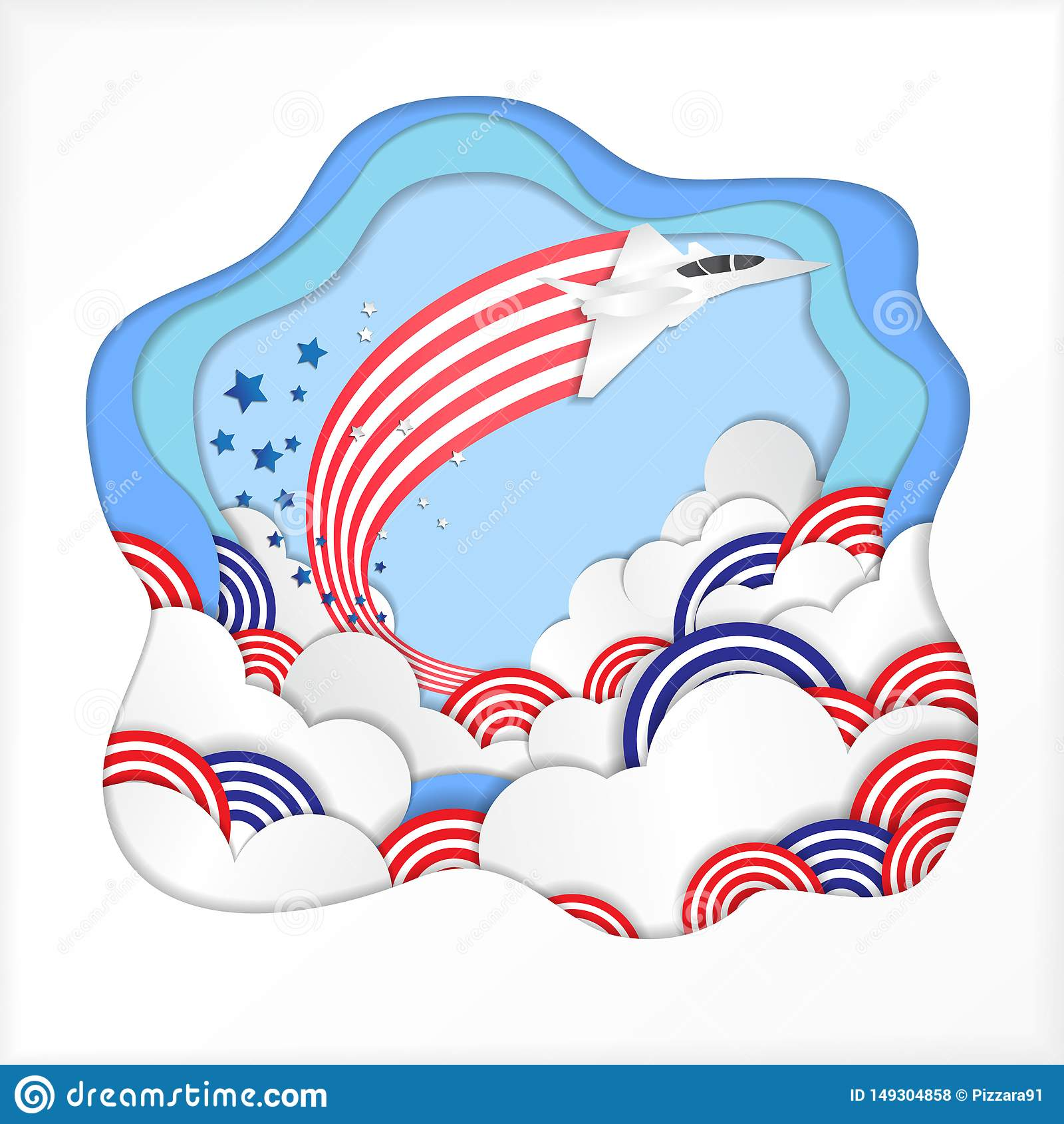 O vetor da celebração do Dia da Independência de América ilustra