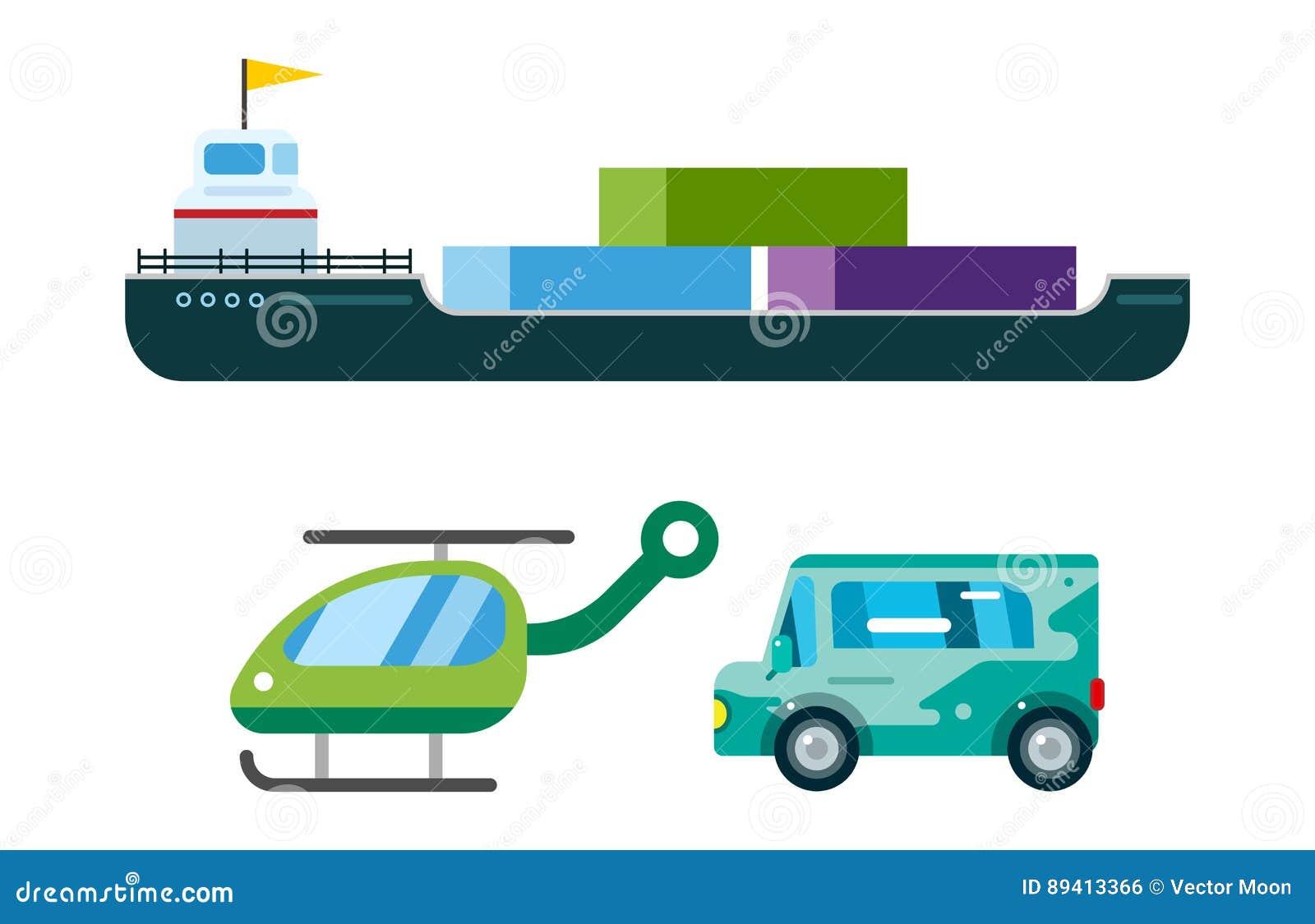 O vetor da entrega do transporte isolou o petroleiro branco do ícone da silhueta do navio do helicóptero do carro de bombeiros da
