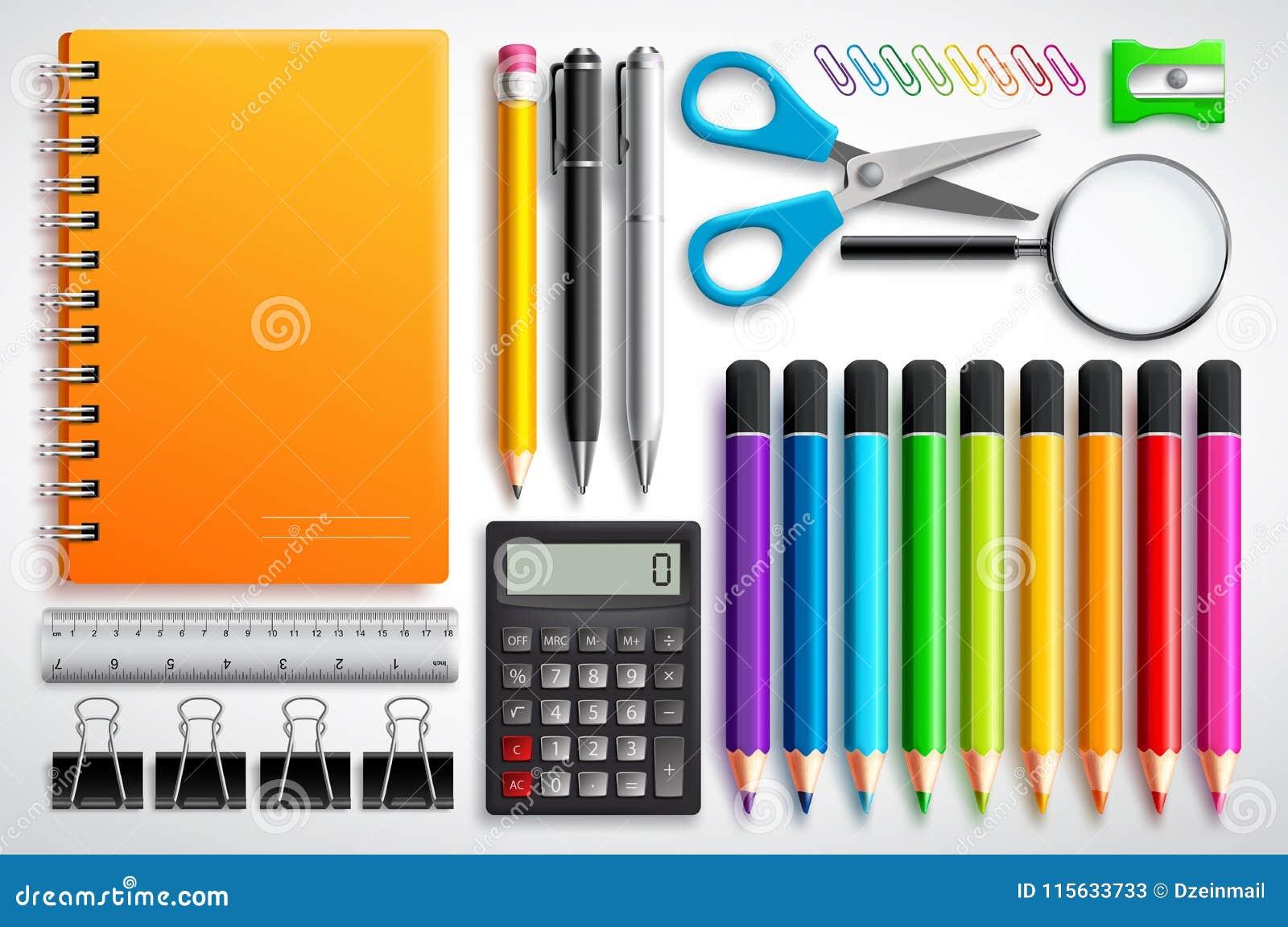 O vetor das fontes de escola ajustou-se com o caderno, as penas e os materiais de escritório dos lápis da cor