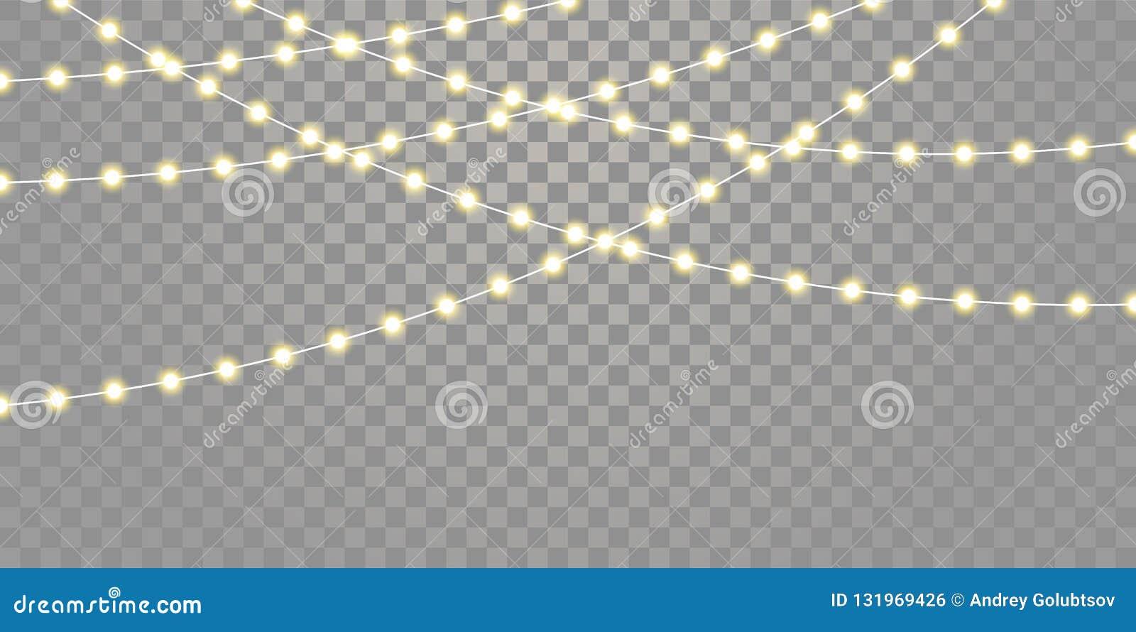 O vetor das luzes de Natal isolou cordas para Xmas da celebração do feriado, aniversário, luzes da lâmpada do festival no fundo t