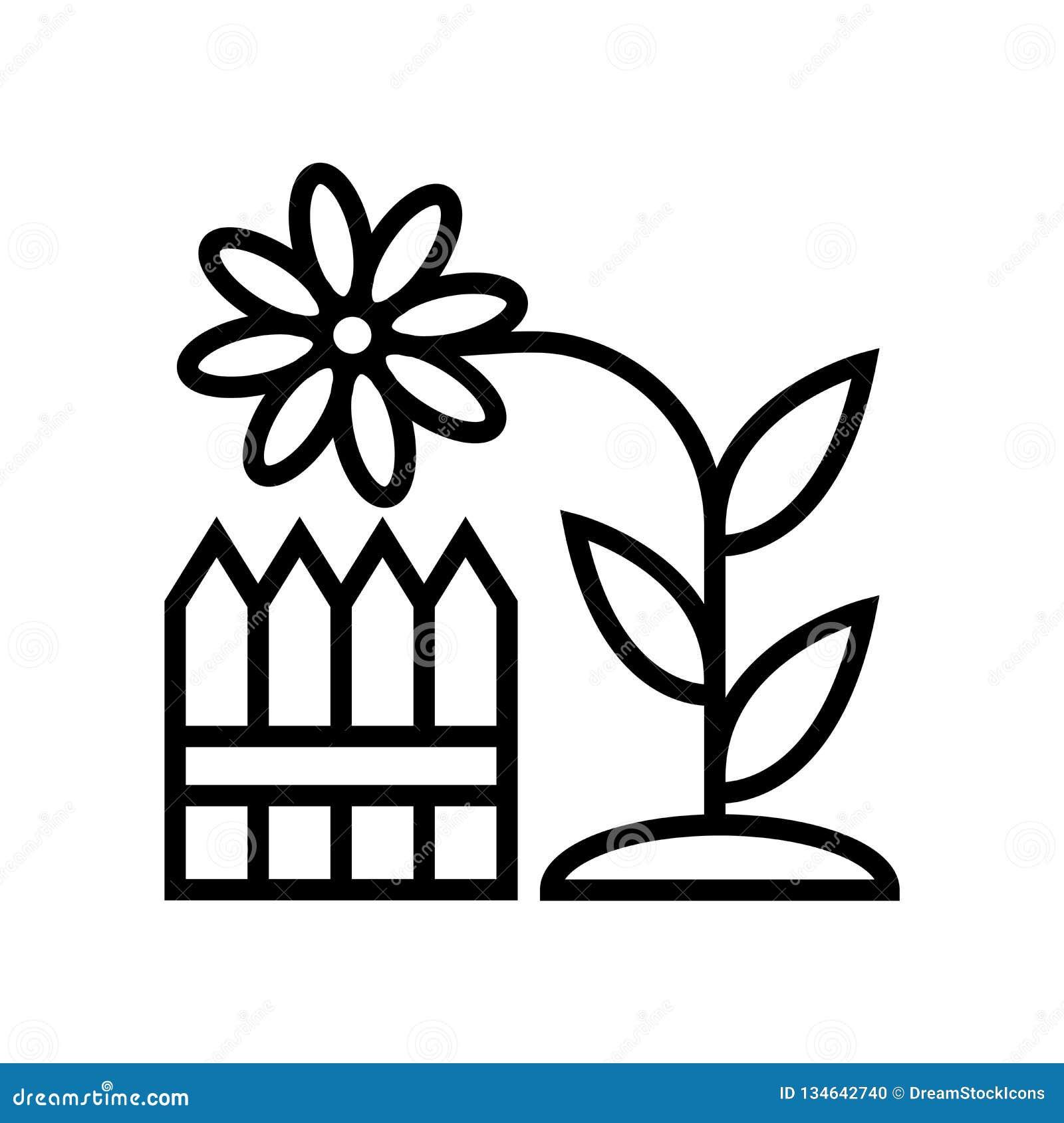 O vetor do ícone das cercas isolado no fundo branco, cerca o sinal, a linha ou o sinal linear, projeto do elemento no estilo do e