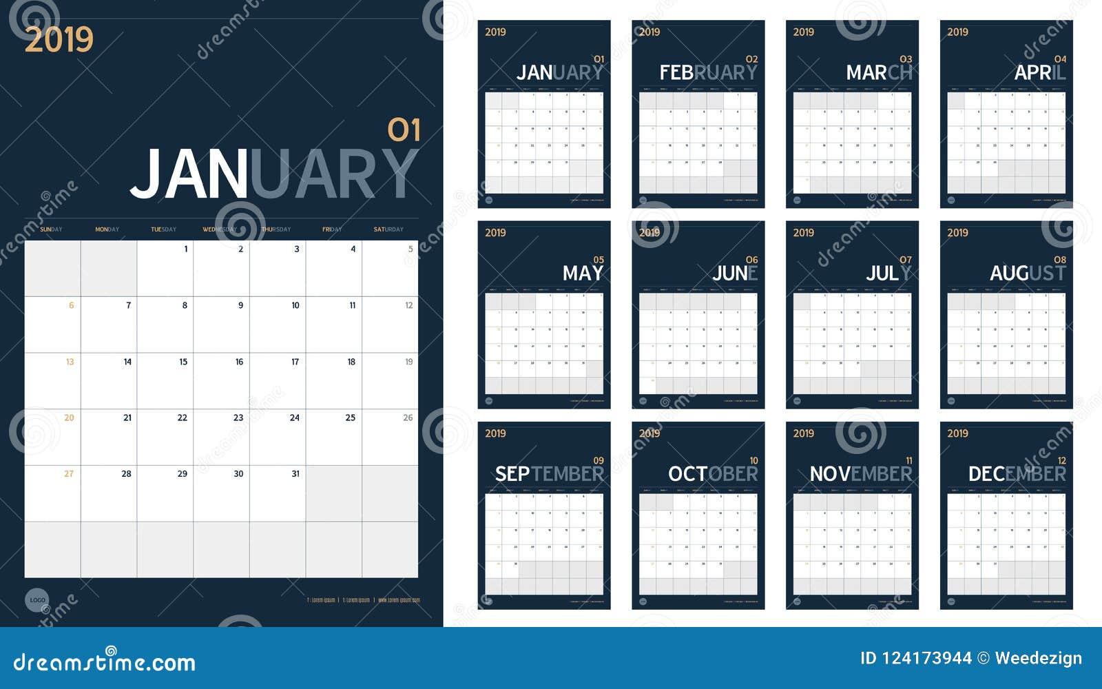 O vetor do calendário do ano 2019 novo ajustou-se no simp mínimo limpo da tabela