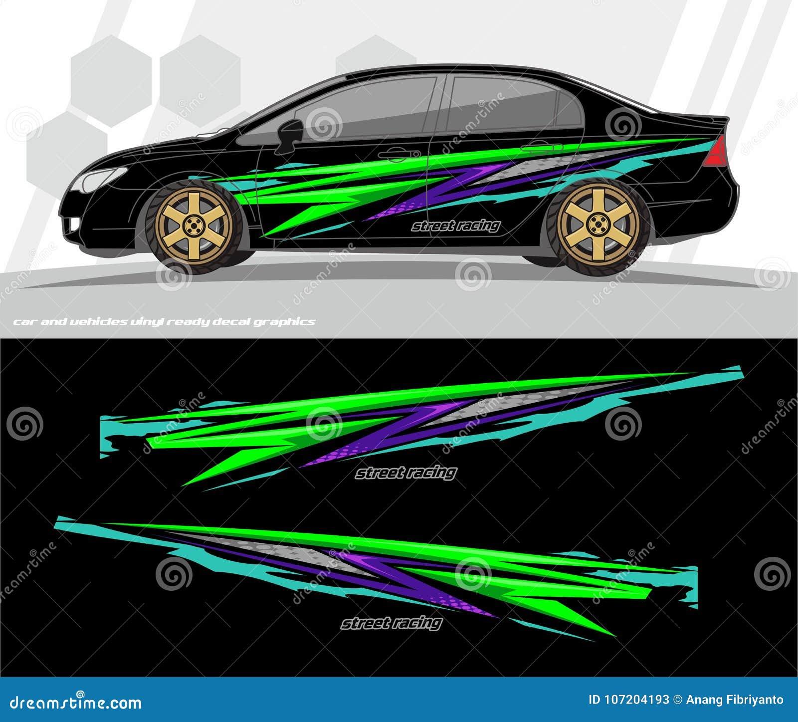 O vetor do jogo dos gráficos do decalque do carro e do envoltório dos veículos projeta apronte para imprimir e cortar para etique