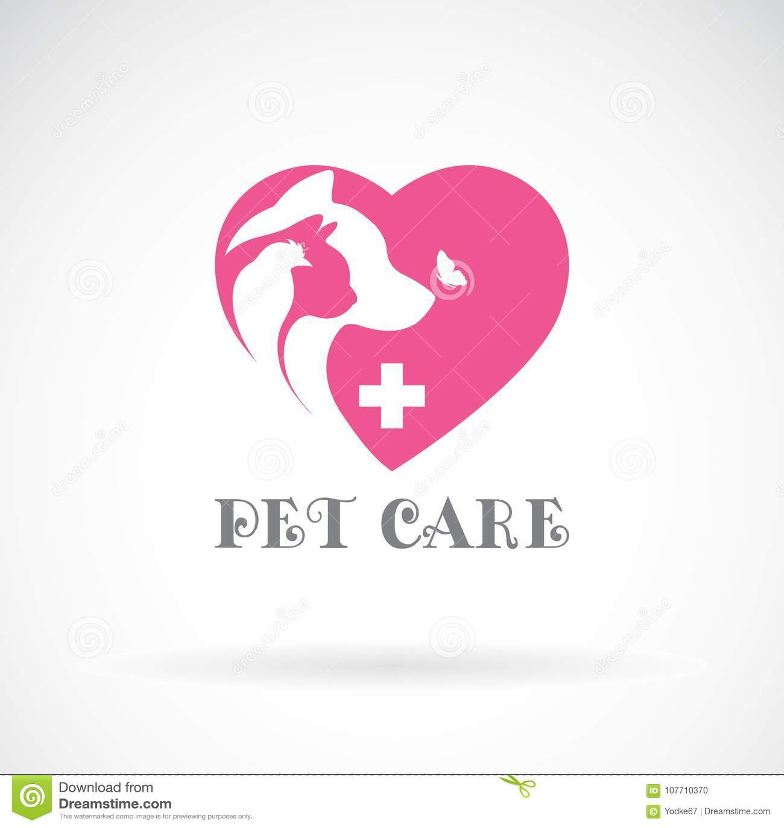 O vetor do pássaro, o gato, o cão e a borboleta no coração cor-de-rosa dão forma
