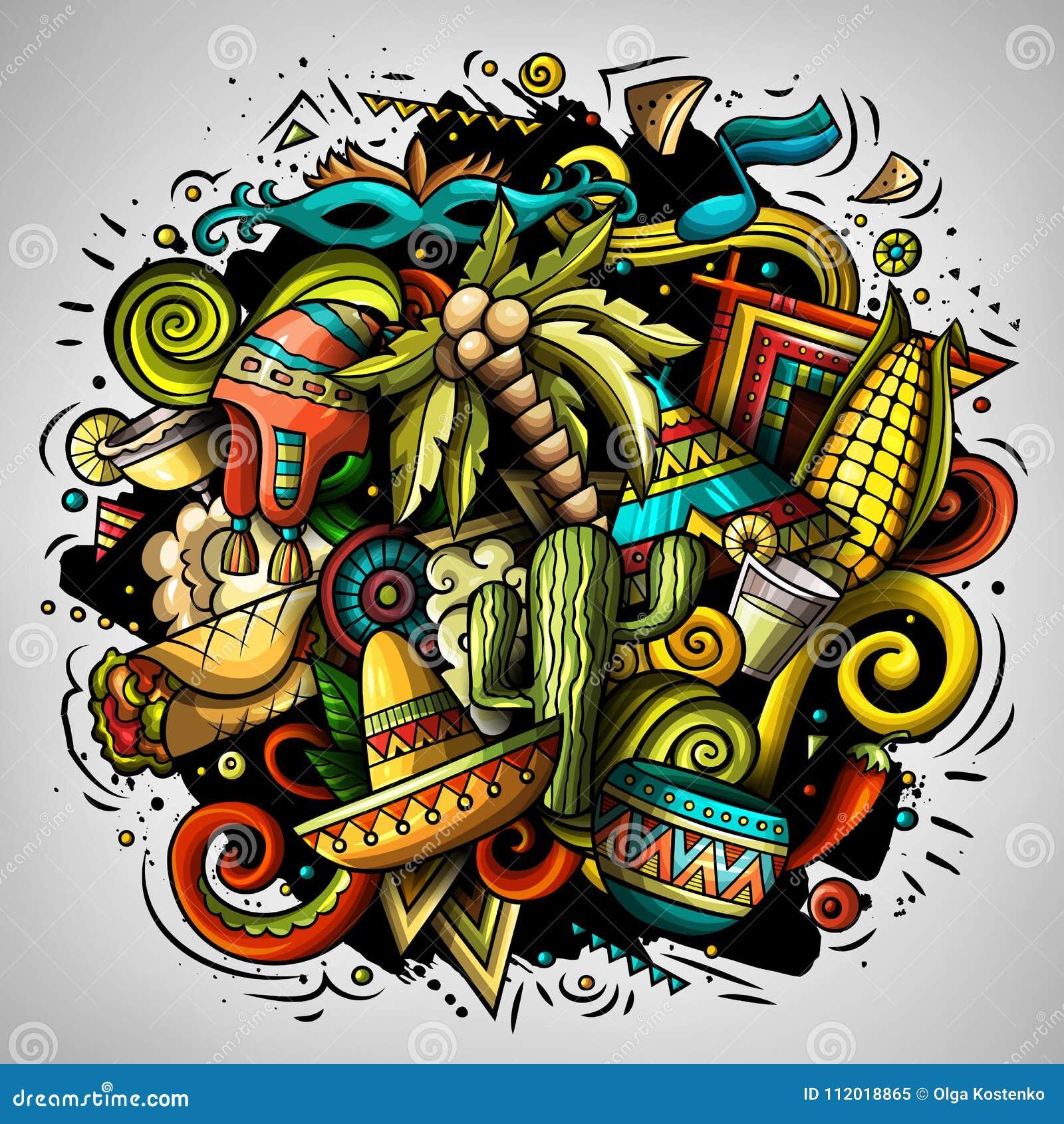 O vetor dos desenhos animados rabisca a ilustração da América Latina