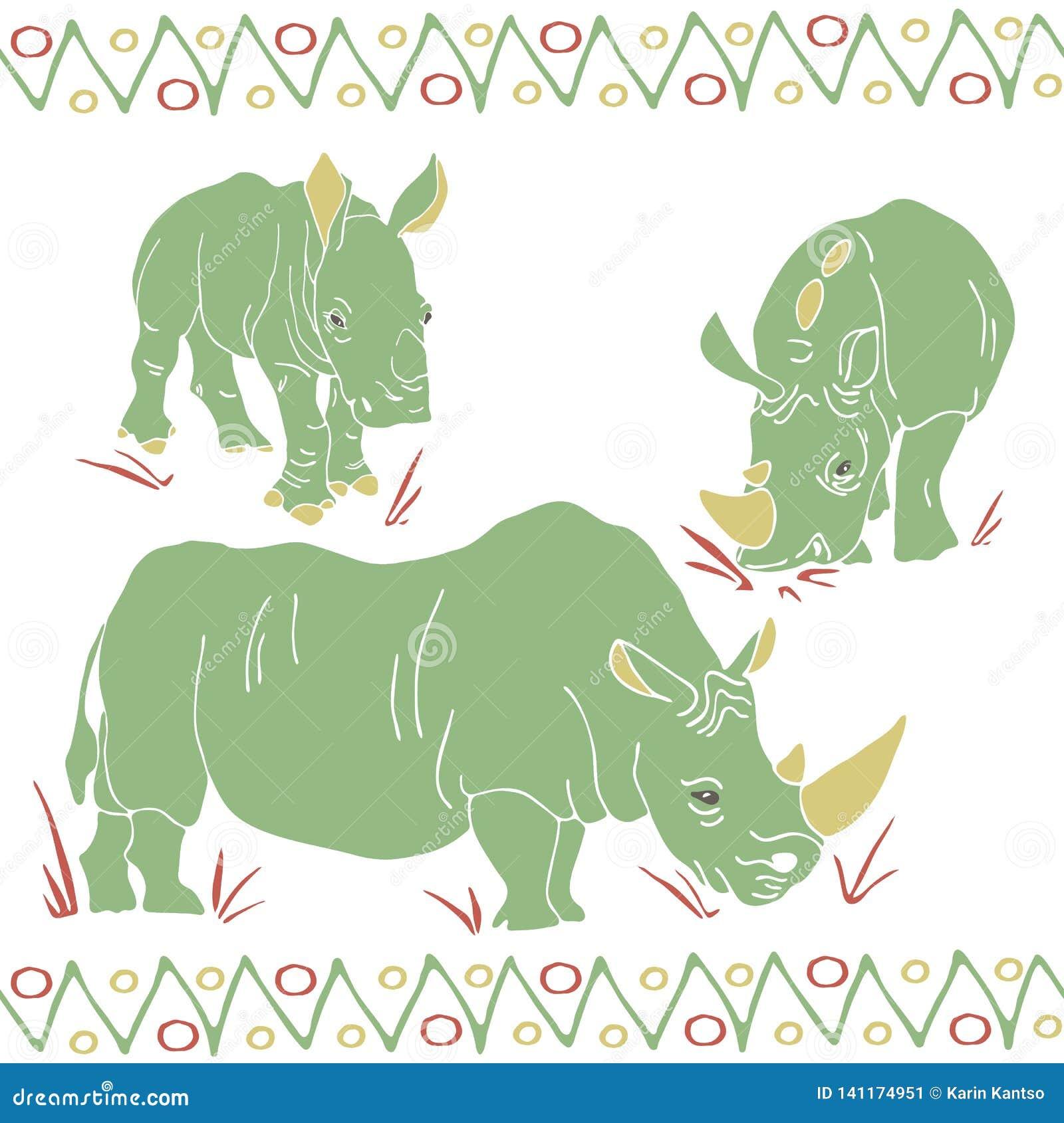 O vetor isolou rinocerontes mamã e teste padrão das crianças