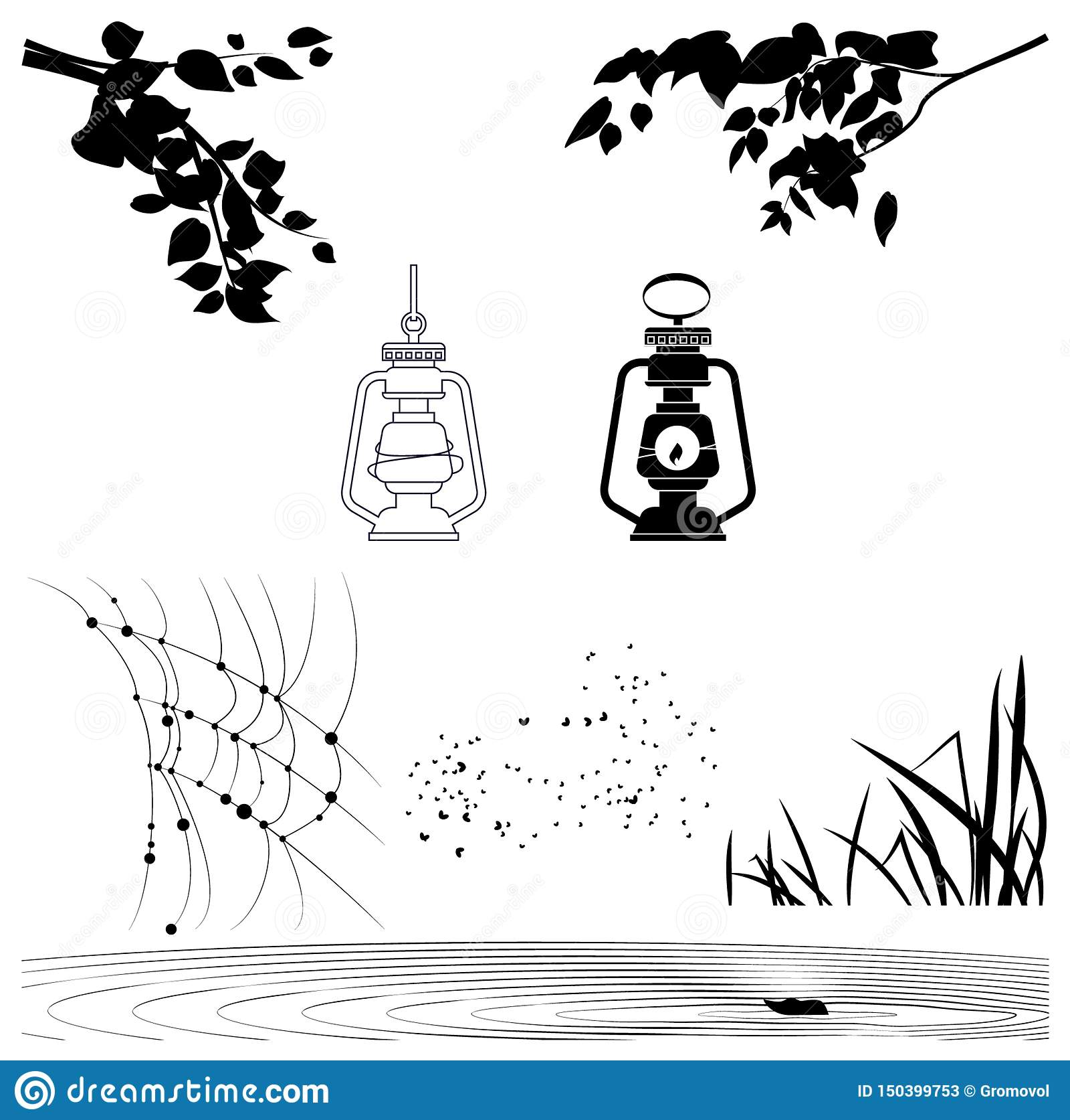 O vetor objeta silhuetas de ramos de árvore, lanternas