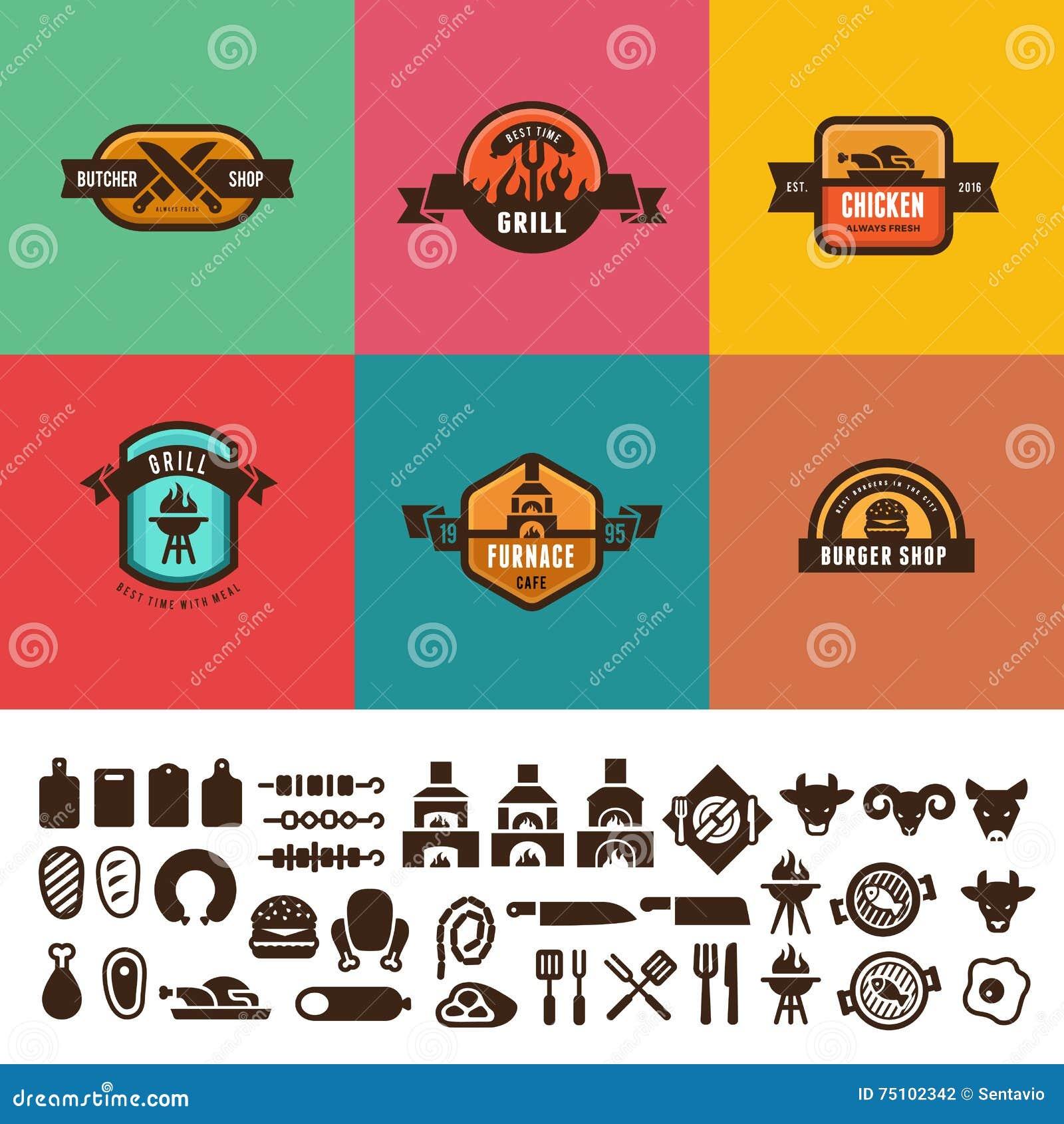 O vintage do alimento da grade do BBQ etiqueta o projeto do vetor do logotipo