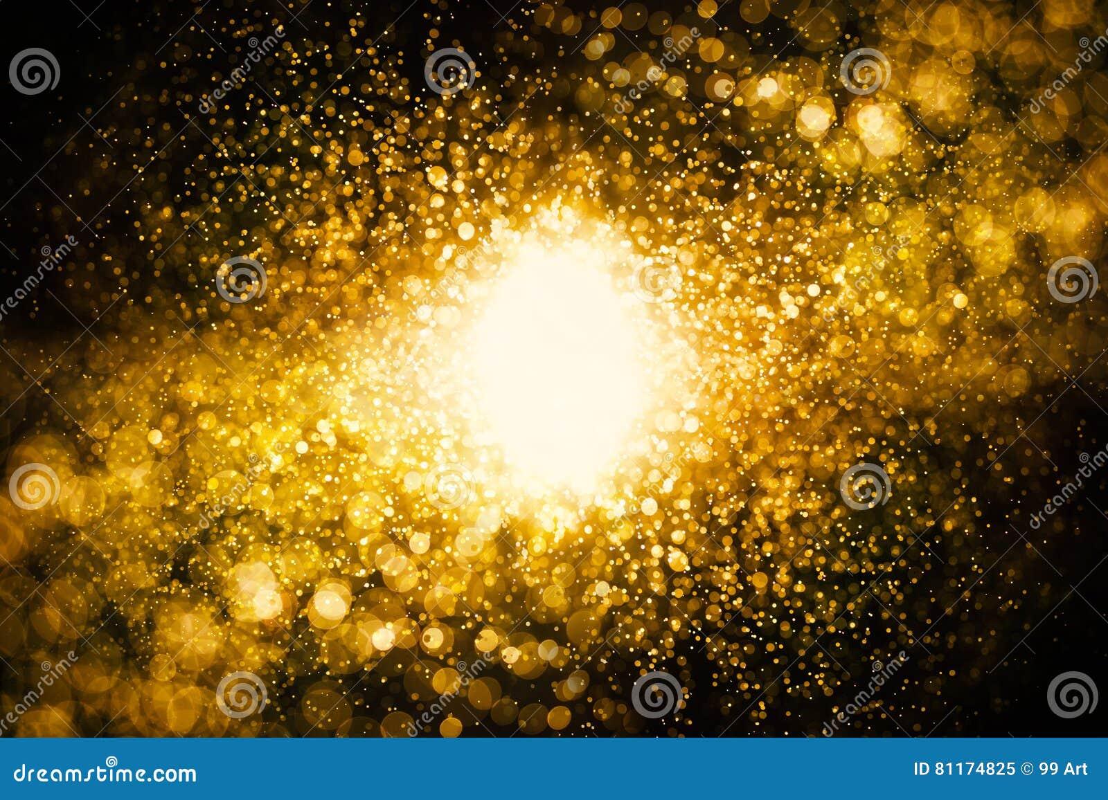 O vintage do brilho ilumina o fundo ouro escuro e preto defocuse