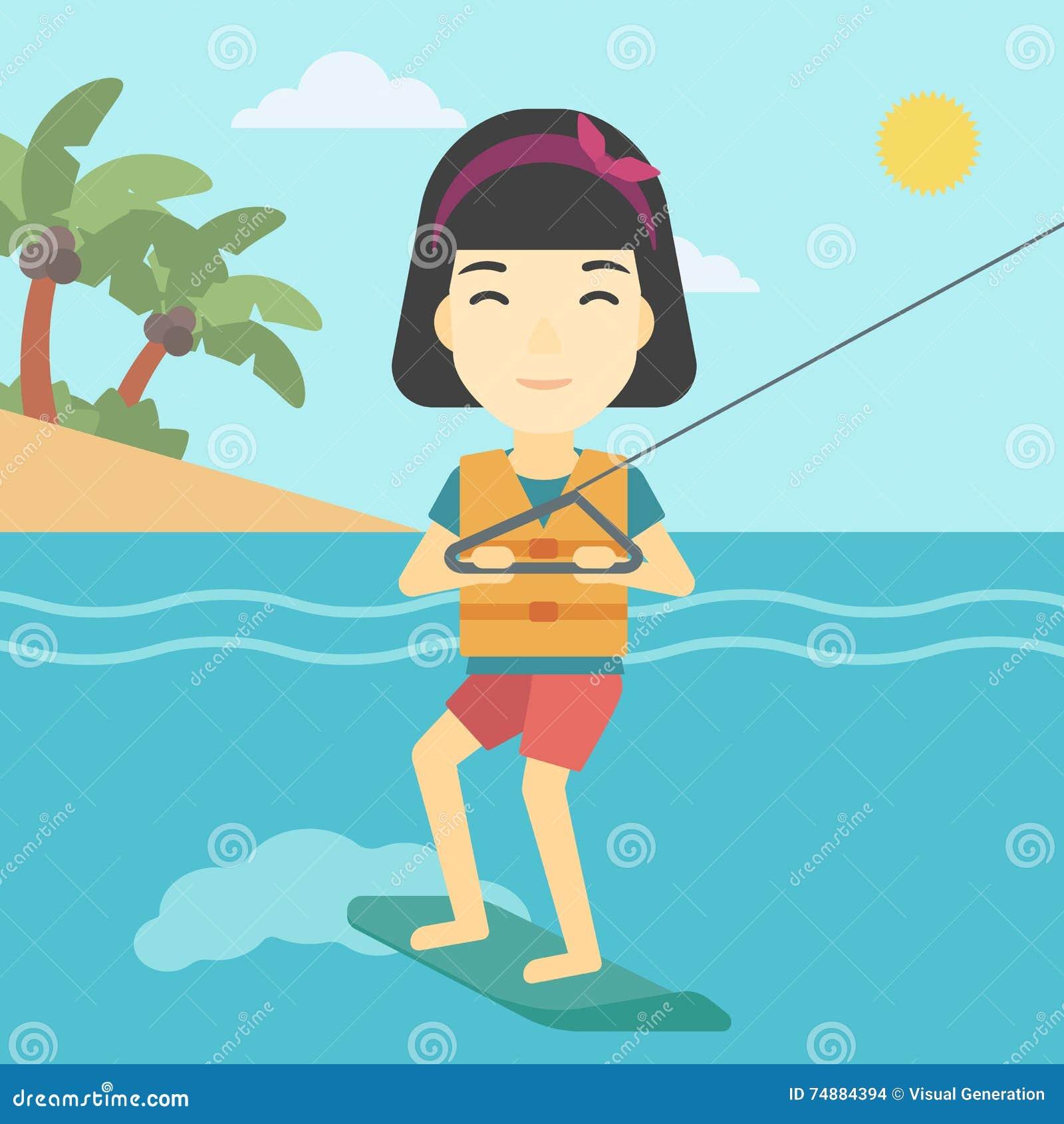 O wakeboard profissional ostenta a mulher