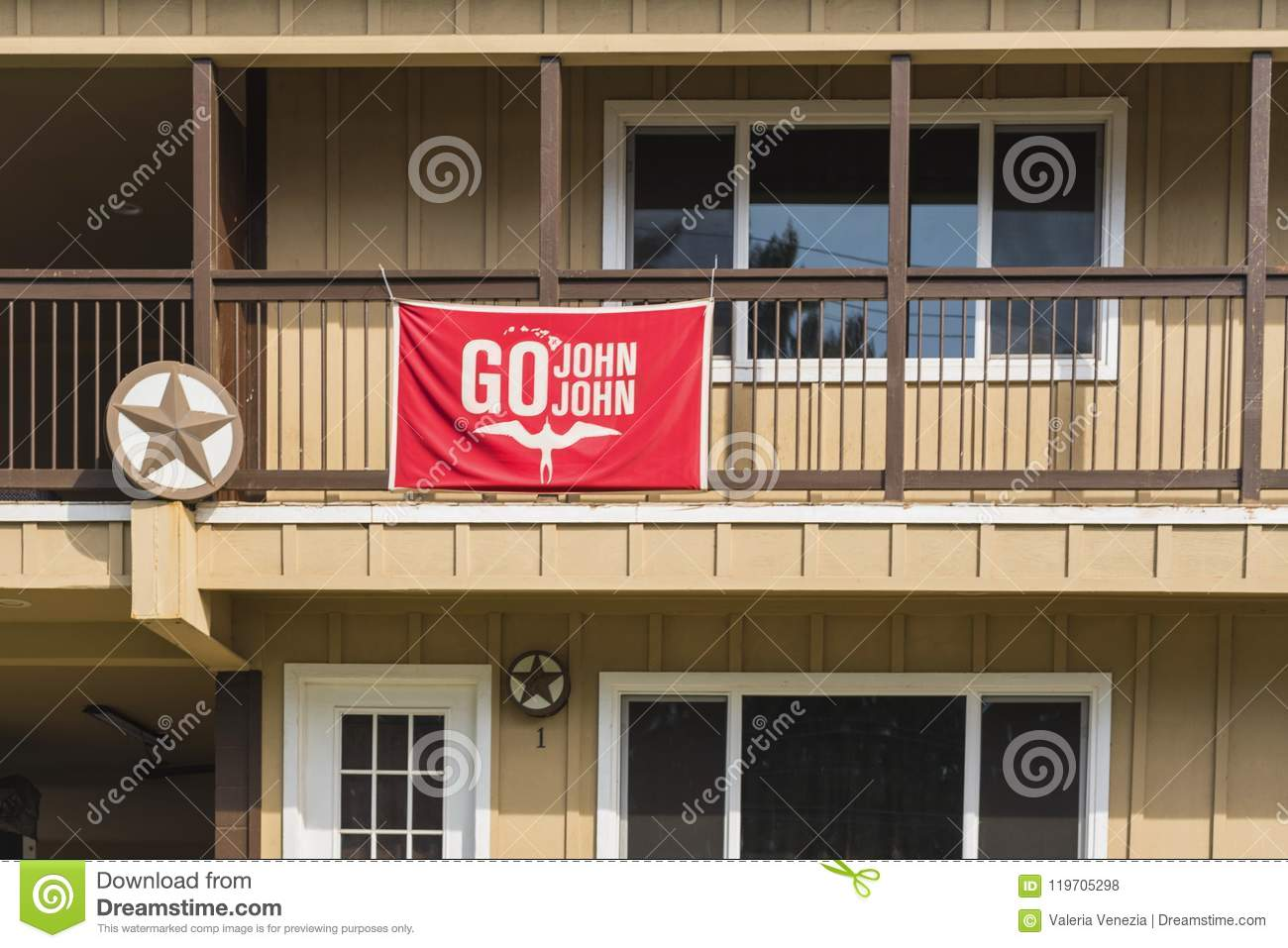 Oahu, Hawaii / United States - February 21 2018: The Go John John flag