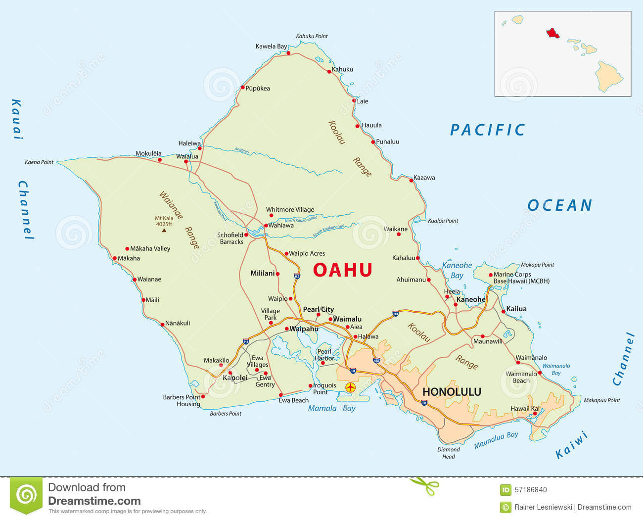 Oahu Road Map Stock Illustration Illustration Of Interstate 57186840