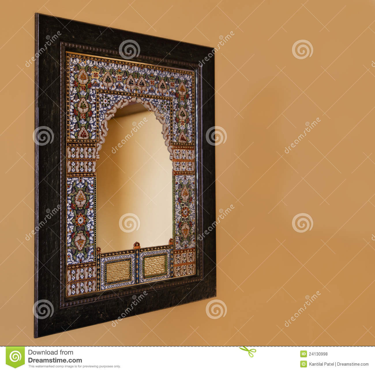 Oak Framed Indigenous Mosiac Mirror India Royalty Free