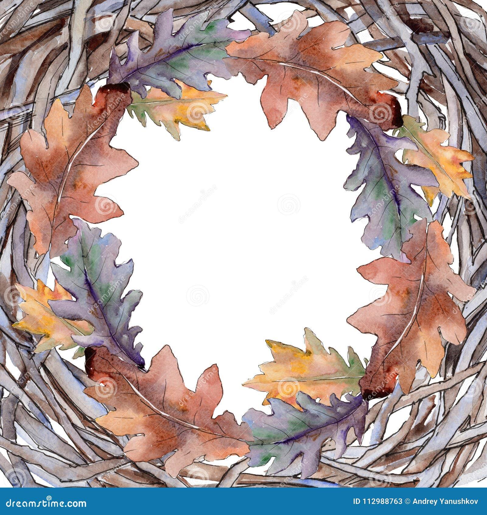 Oak leaves frame in a watercolor style.