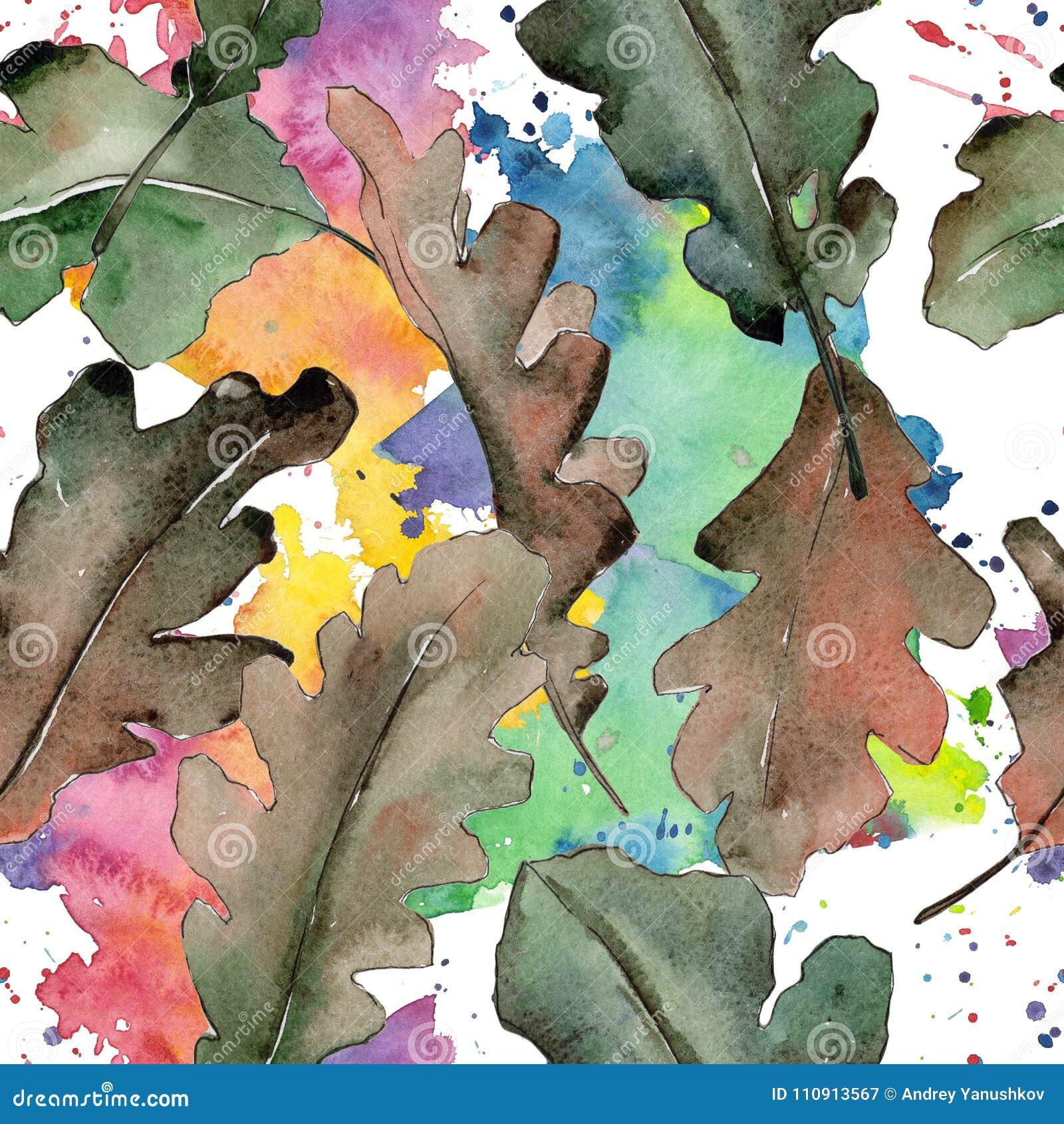 oak leaves pattern in a watercolor style stock illustration
