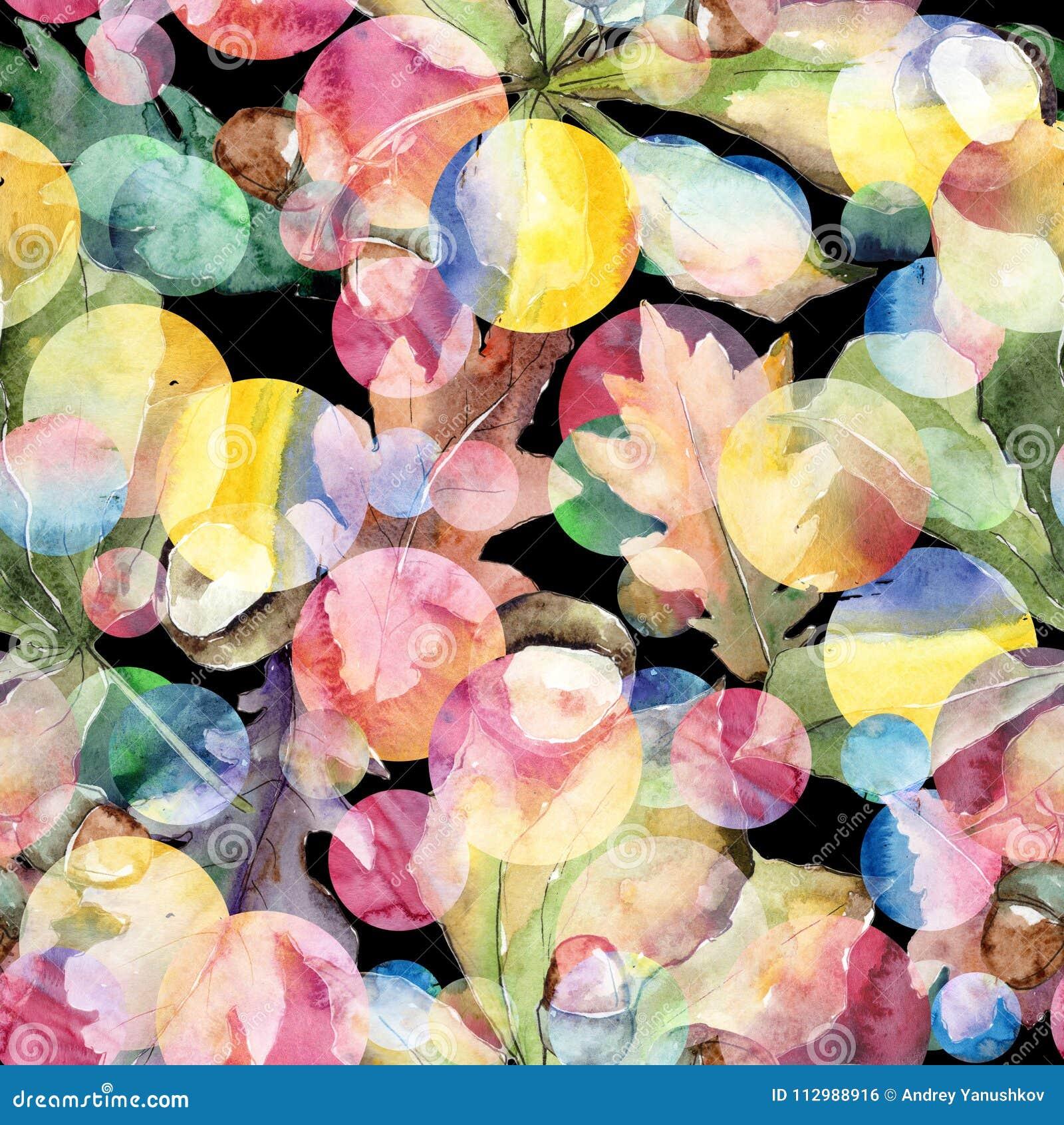 Oak leaves pattern in a watercolor style.