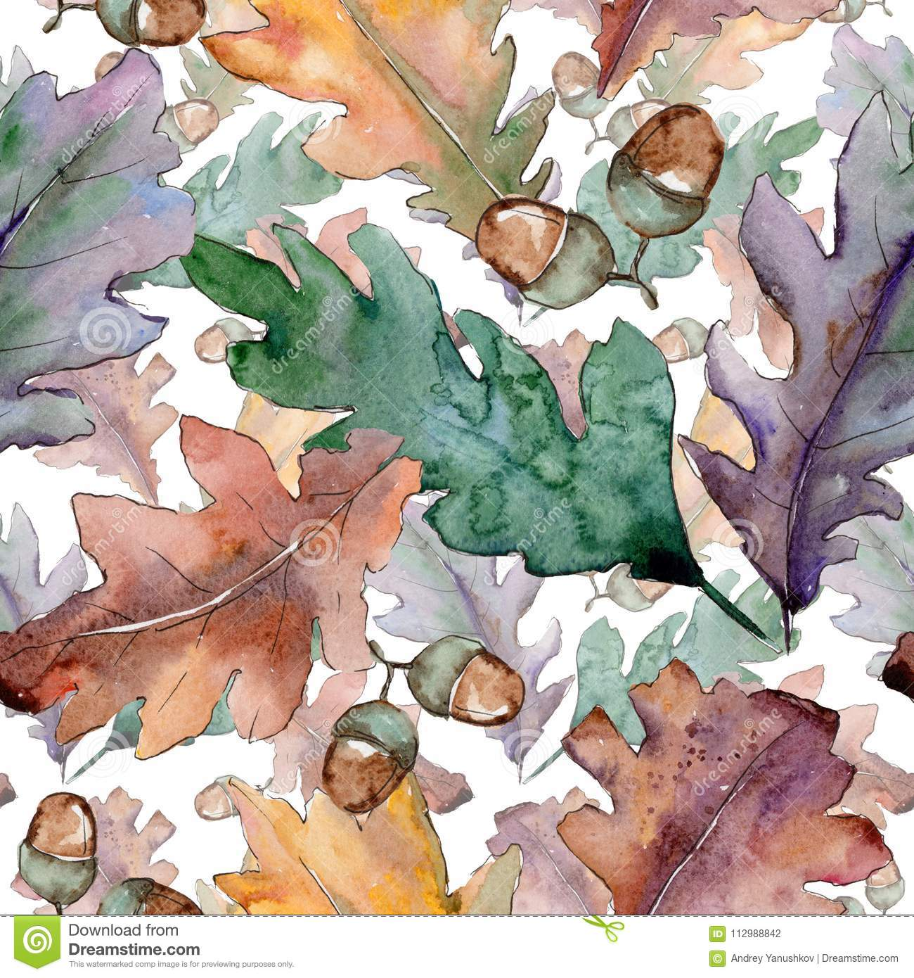 Oak leaves pattern in a watercolor style.