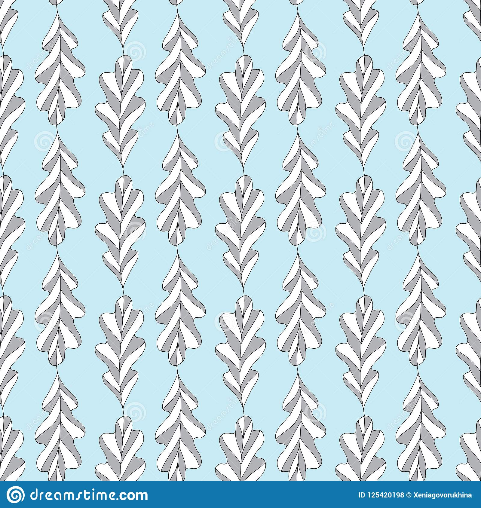 Oak Leaves Vector Seamless Pattern Hand Drawn Abstract Leaf