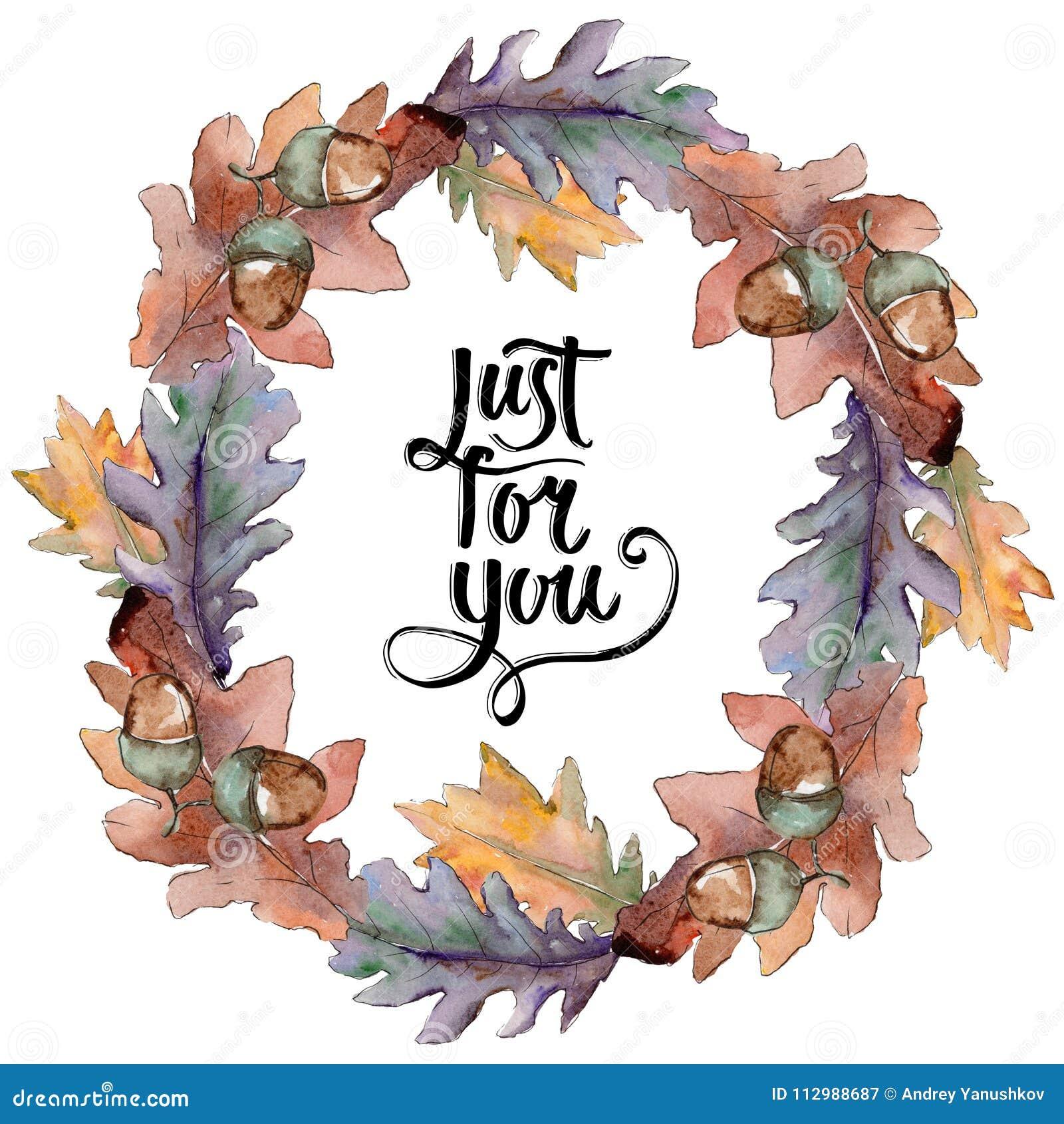 Oak leaves wreath in a watercolor style.