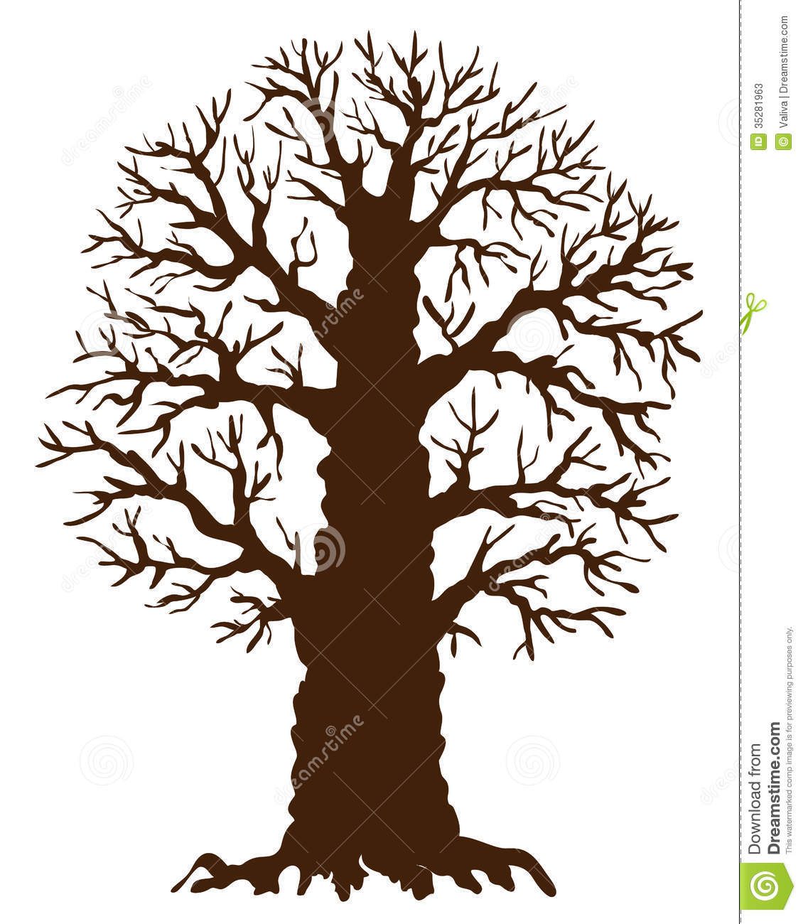 Simple Tree Without Leaves Clip Art Silhouette of oak tree with no