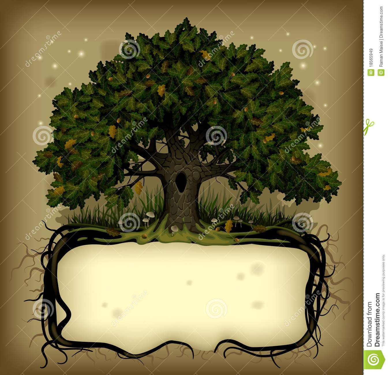 ... with fairy-tale rooted oak treeThere is in addition a format (EPS 8