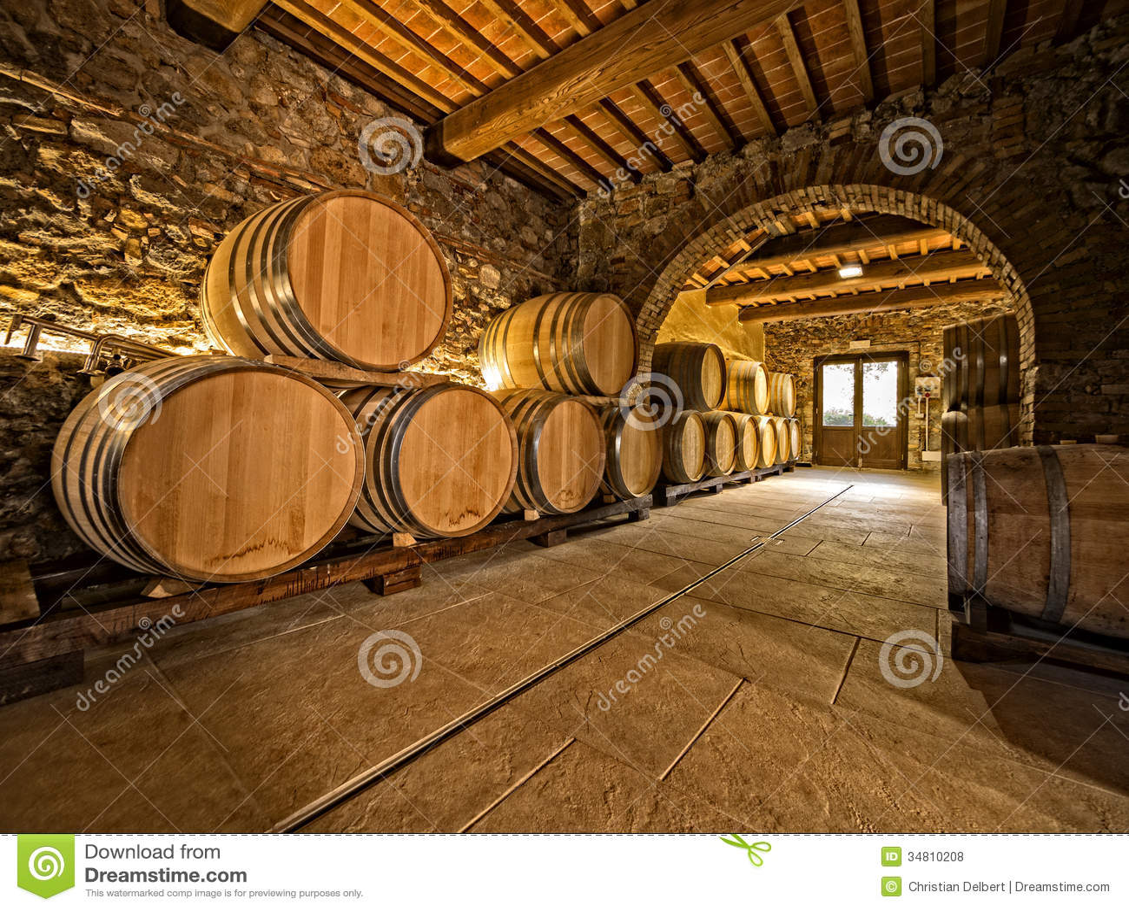 Wine Cellar Barrel Room   Visionary Mural Company   Barrel Wine Cellar