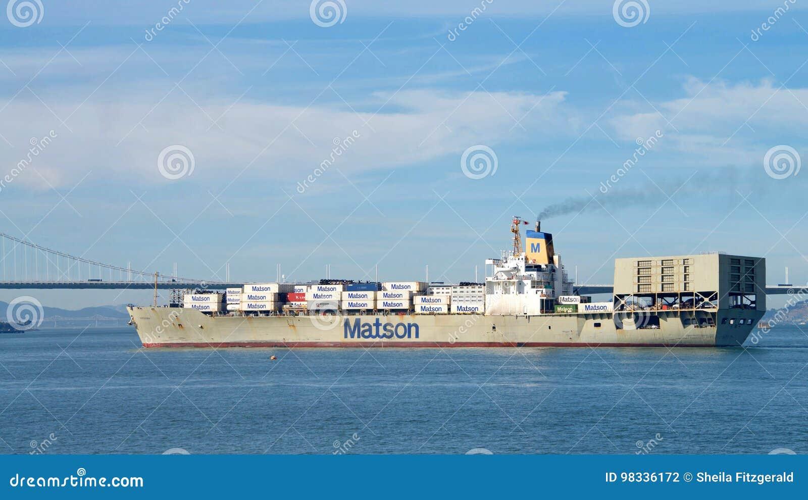Matson Cargo Ship MATSONIA Departing The Port Of Oakland
