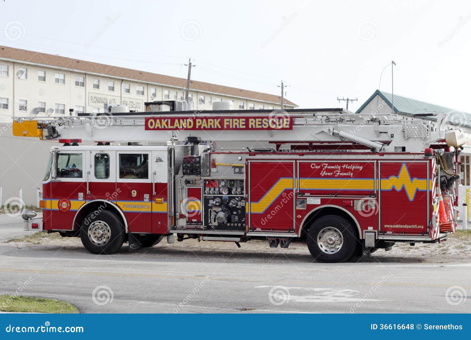 Oakland Park Fire Rescue Truck Editorial Stock Photo