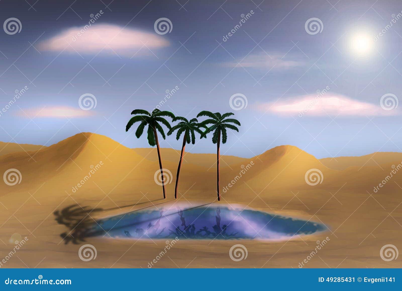 Oase In Der Wüste Stock Abbildung - Bild: 49285431