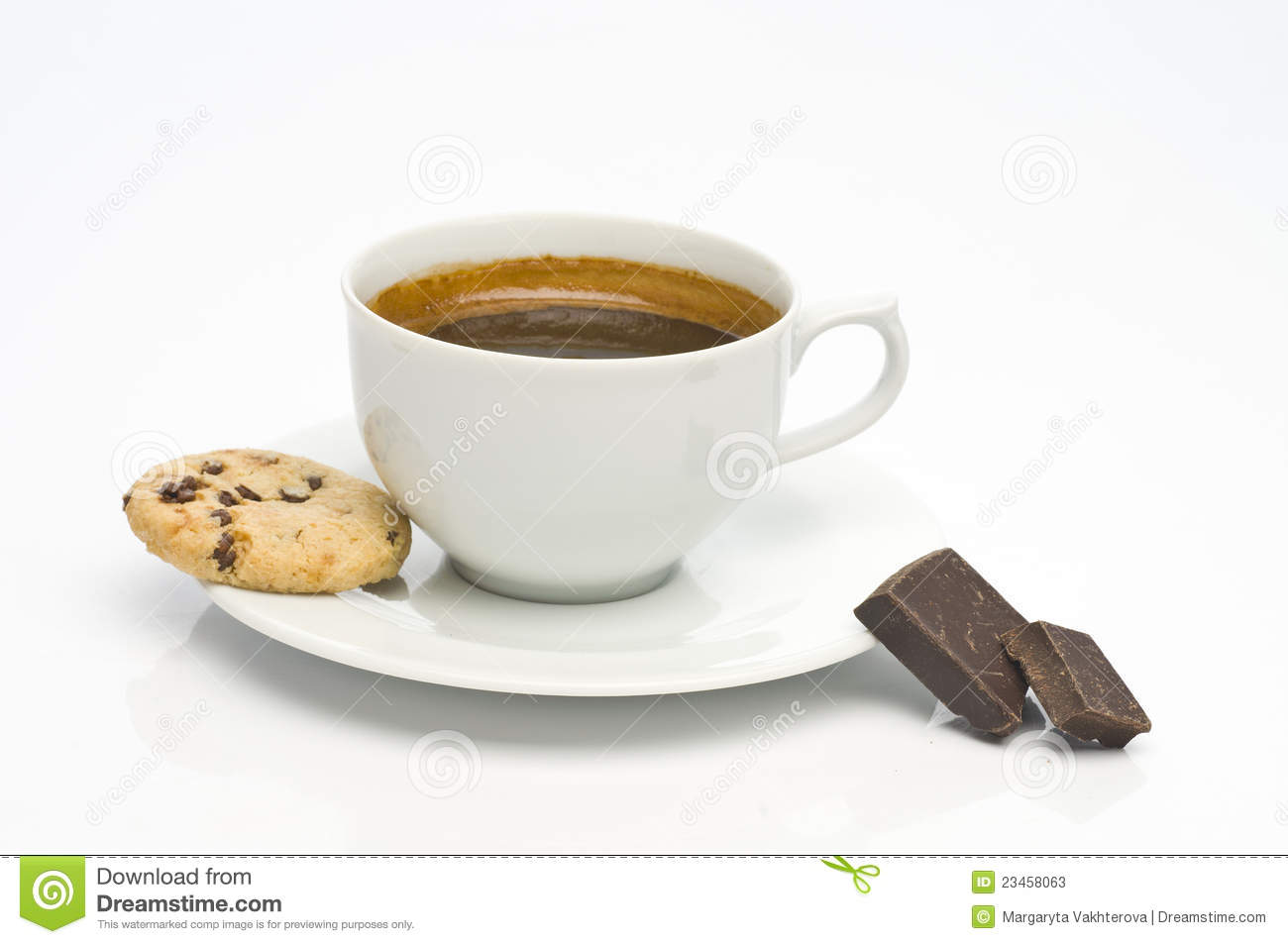 Oatmeal Cookie, Coffee Cup And Chocolate Stock Photos - Image ...