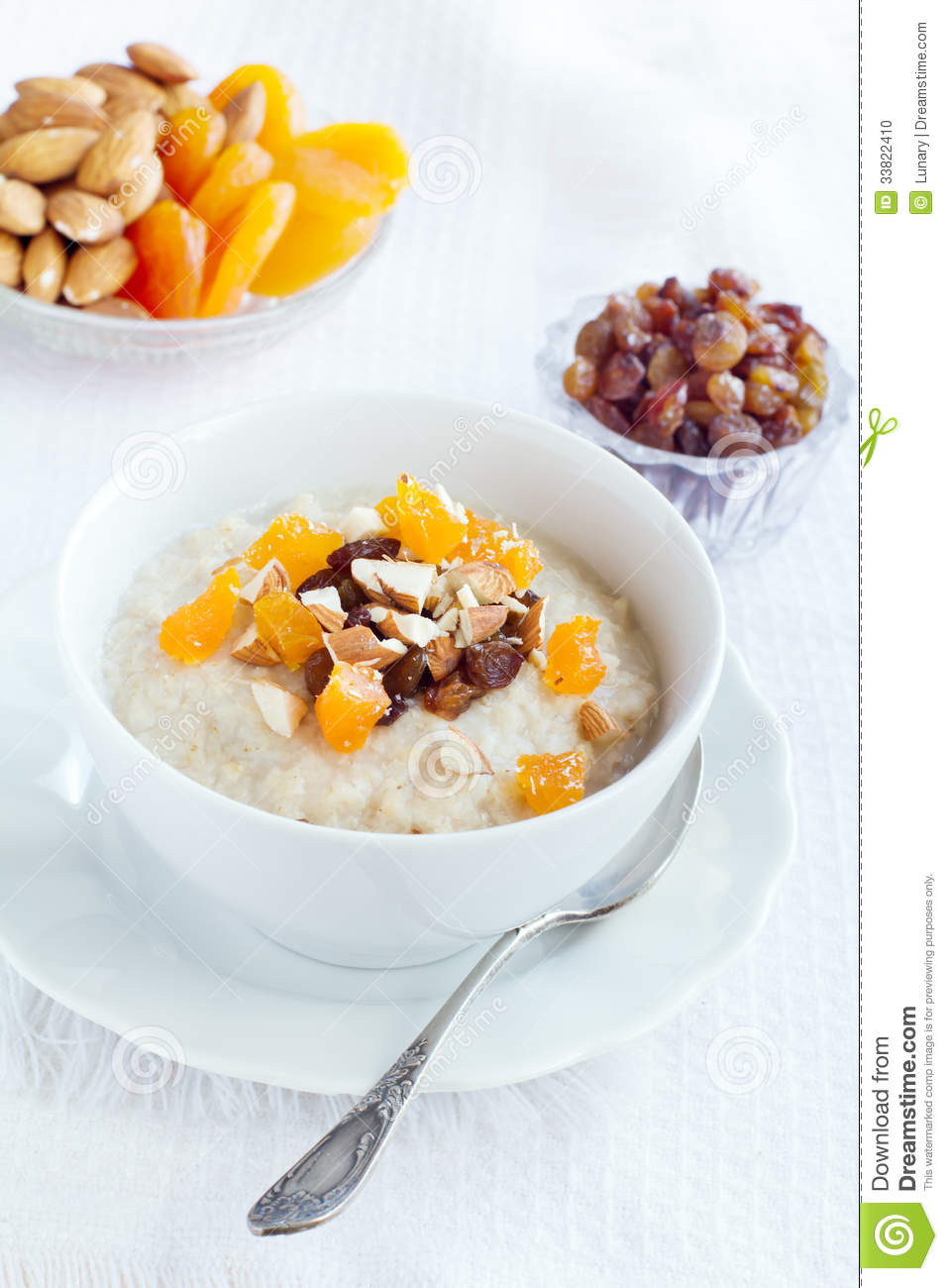 Oatmeal with dried fruit and nuts.