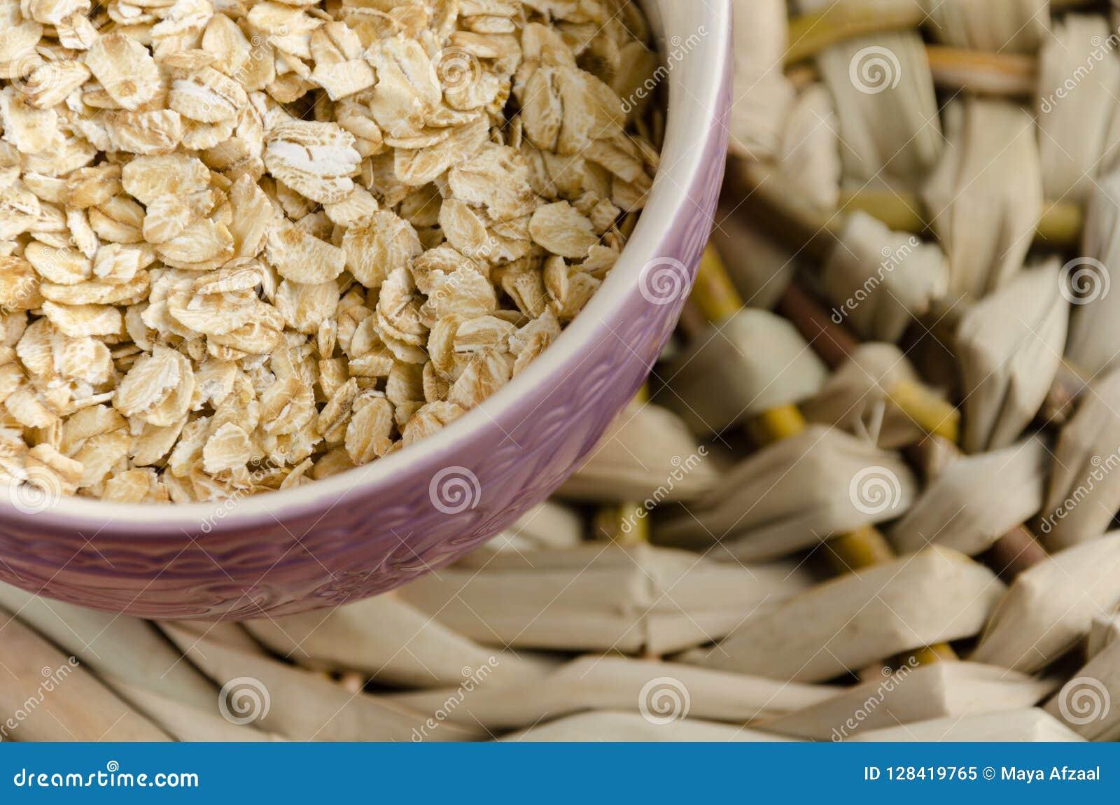 Oatmeal Muesli, grains Beau fond Farine d avoine crue guérissez