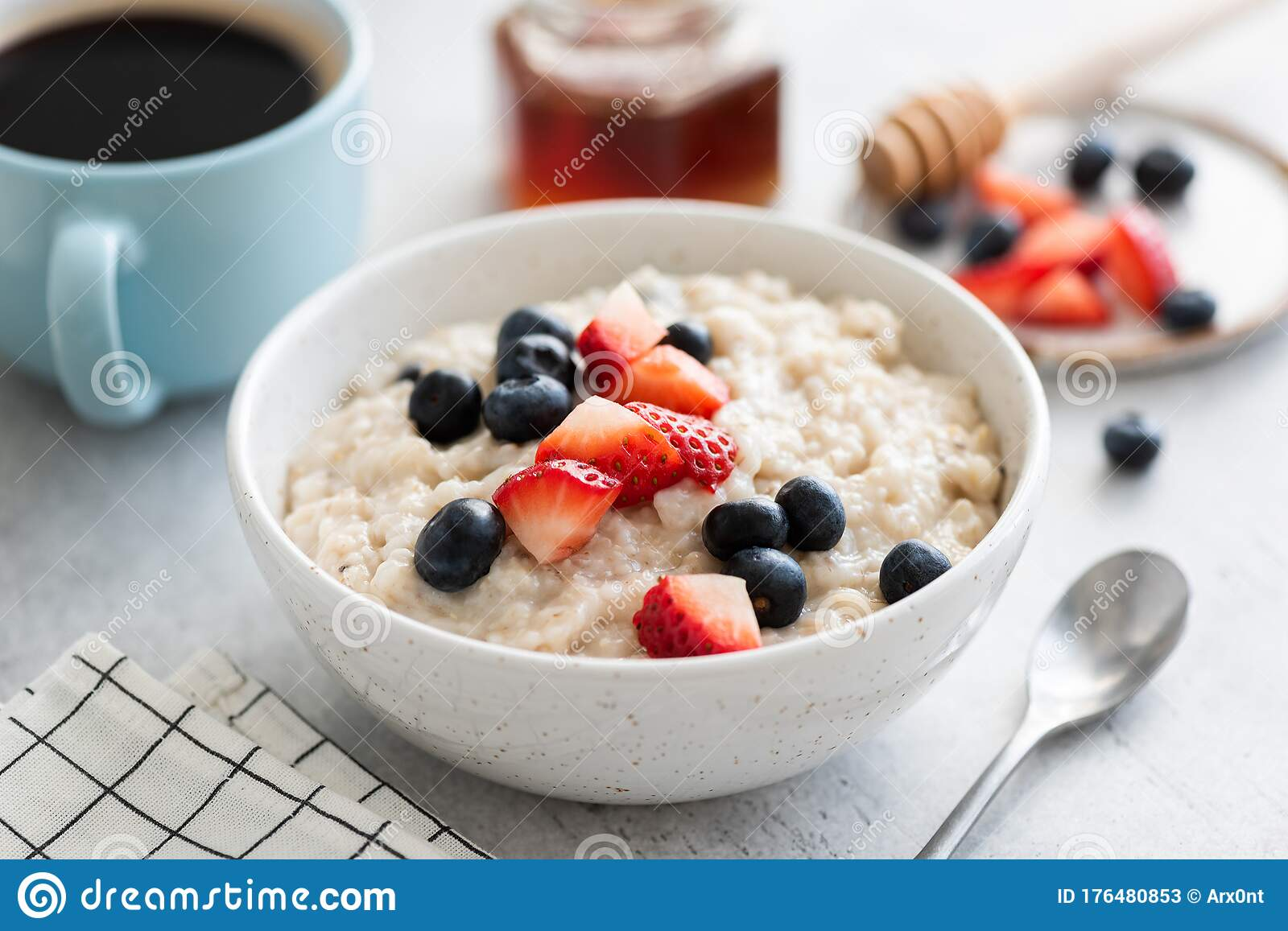 Oatmeal Porridge With Berries Honey And Cup Of Coffee Stock Image Image Of Greek Bowl 176480853
