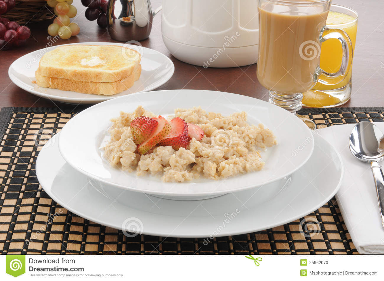 Oatmeal With Strawberries And Toast Stock Photo - Image: 25962070