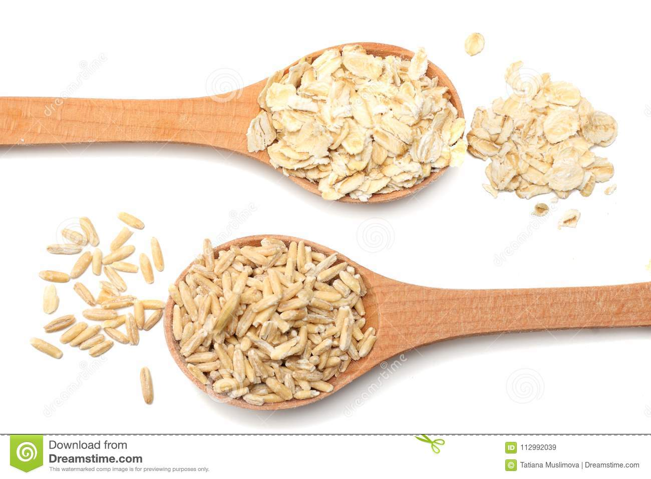 oatmeal in wooden spoon isolated on white background. top view