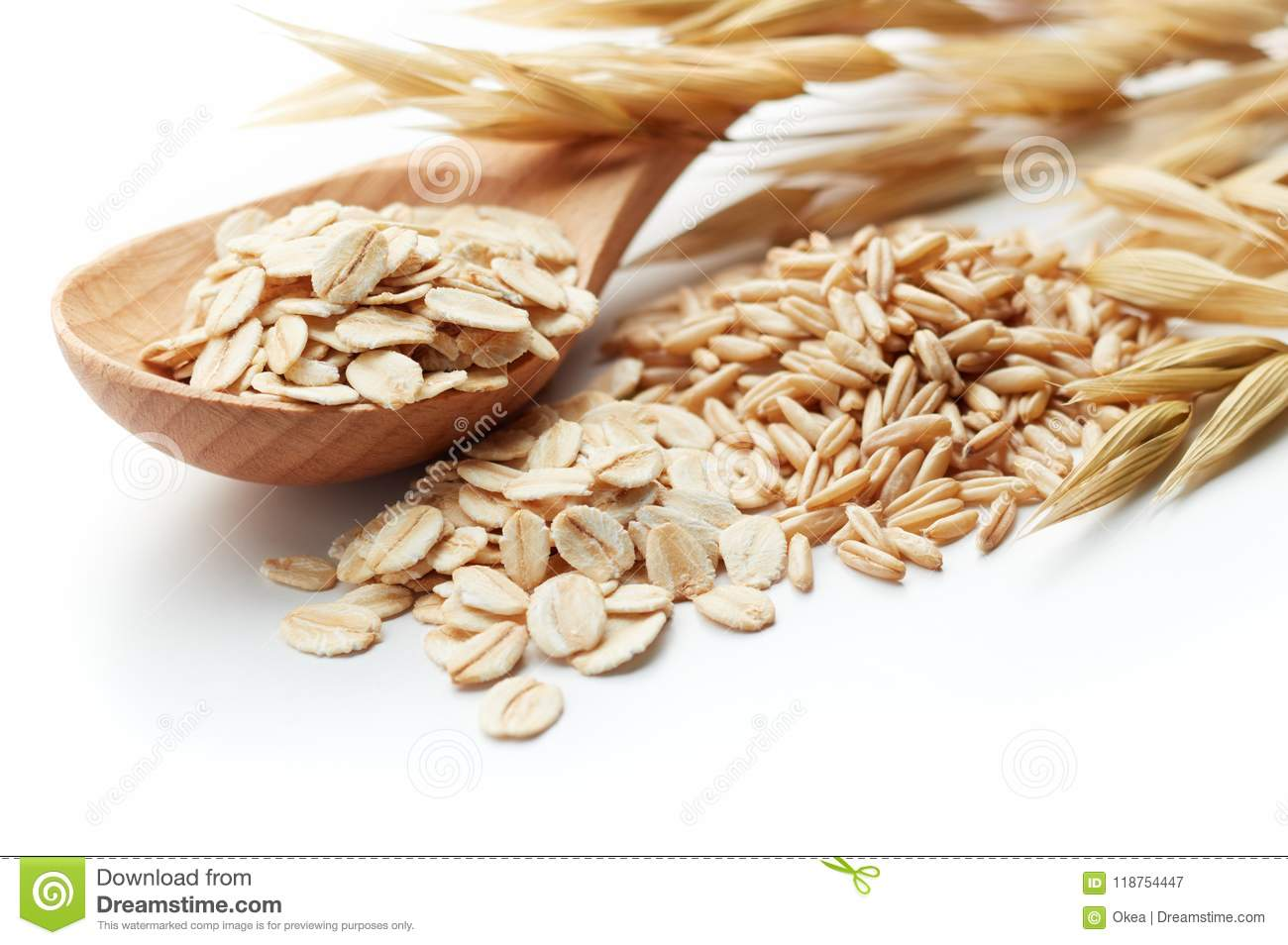 Download Oats stock image. Image of unmilled, group, pile, spoon - 118754447