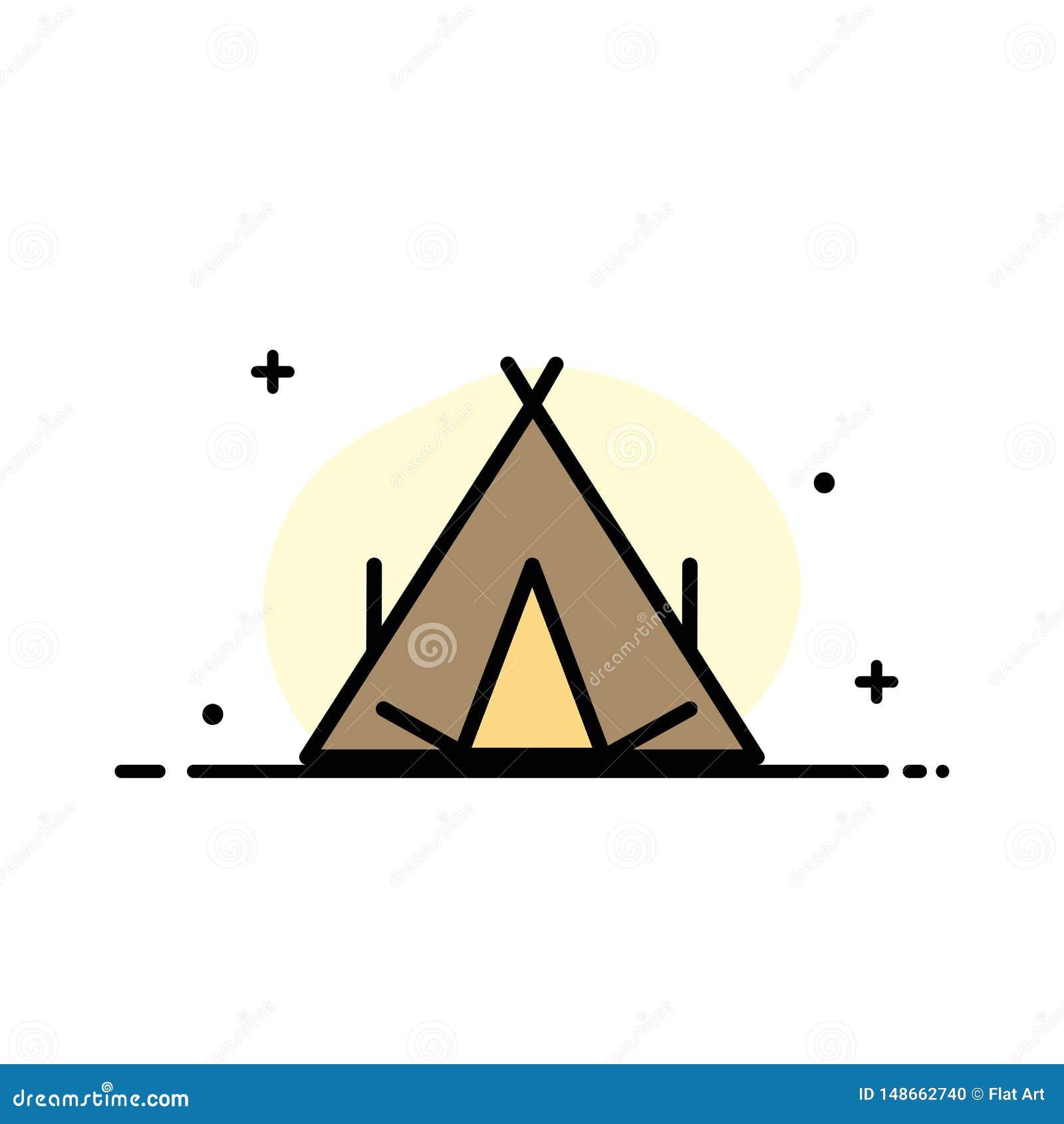 Obóz, namiot, wigwam, wiosny mieszkania ikony sztandaru Biznesowa linia Wypełniający Wektorowy szablon