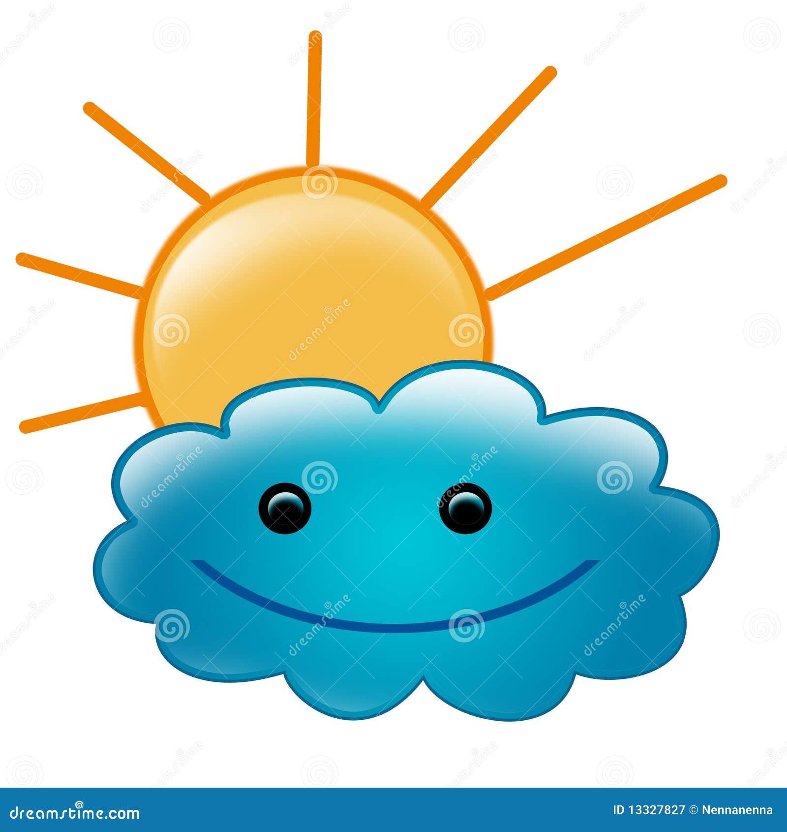 Obłoczna śliczna ilustracja uśmiechał się słońce