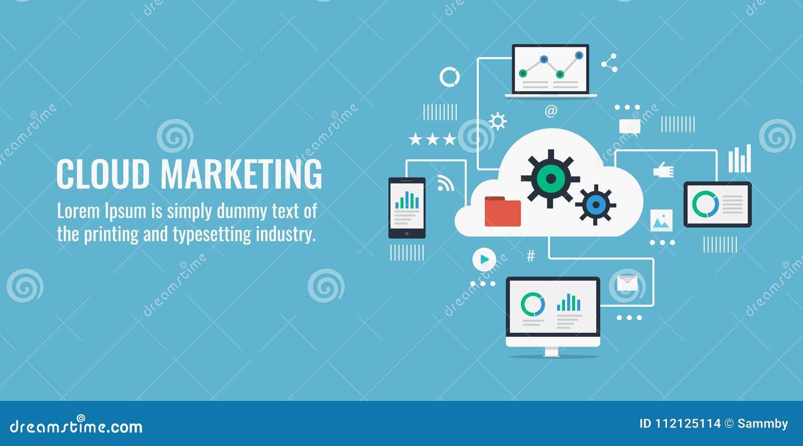 Obłoczny obliczać, cyfrowy marketing i dane analityka pojęcie, Płaska projekta wektoru ilustracja