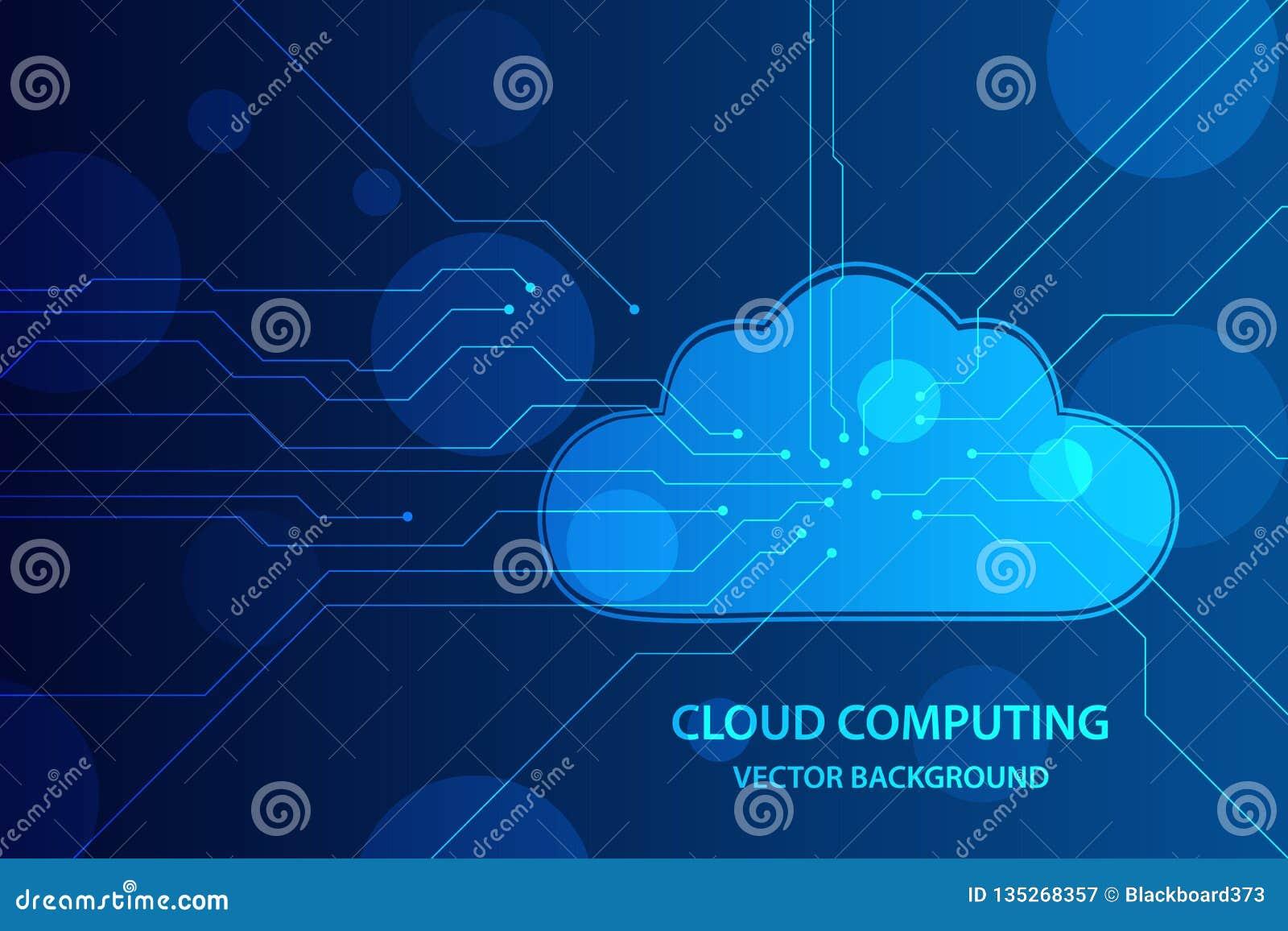 Obłoczny obliczać i sieci technologia zabezpieczeń pojęcie, chmura z obwód deski linią w błękitnym tle Wektorowy tło