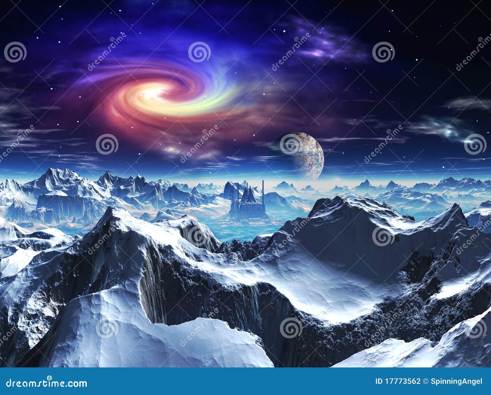 Obca futurystyczna lodowa planety świątyni dolina