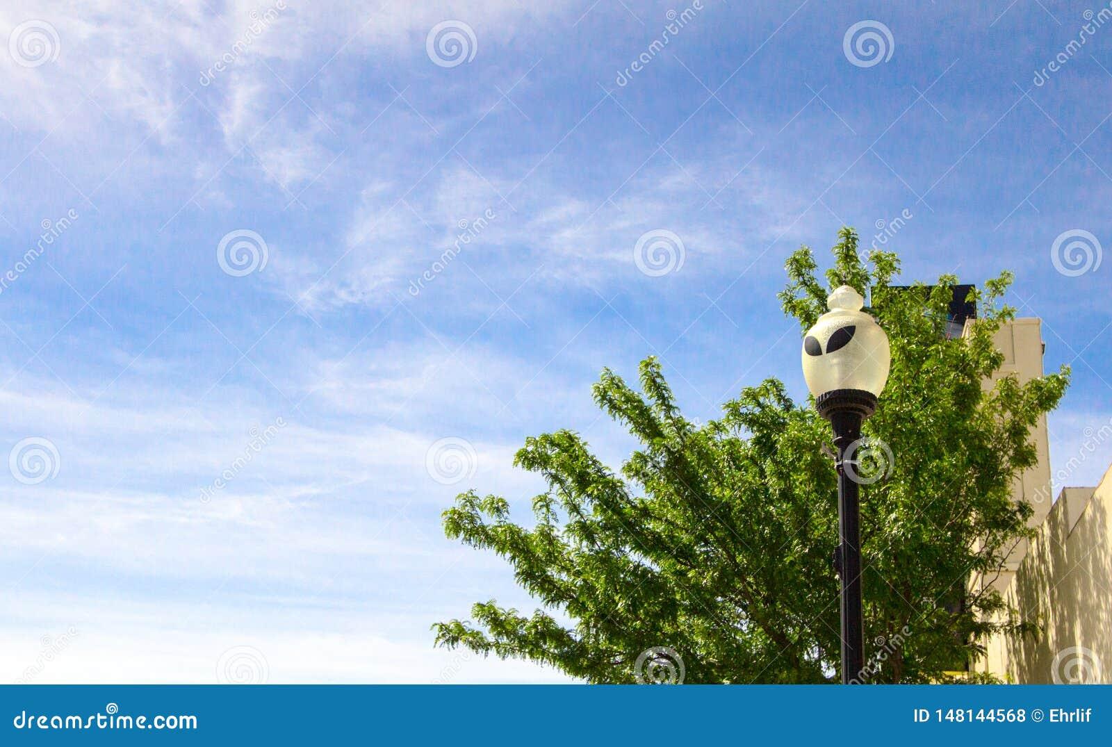 Obca twarzy latarnia uliczna W Roswell Nowym - Mexico