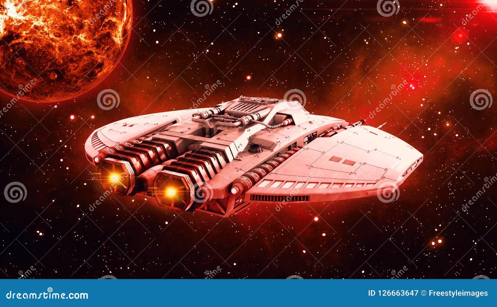 Obcy statek kosmiczny w lataniu w wszechświacie z planetą i gwiazdach w tle głębokiej przestrzeni, UFO statku kosmicznego, tylni