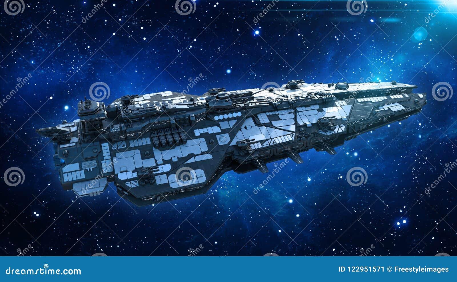 Obcy statek kosmiczny w wszechświacie, statku kosmicznego latanie w głębokiej przestrzeni z gwiazdami w tle, UFO odgórny widok, 3