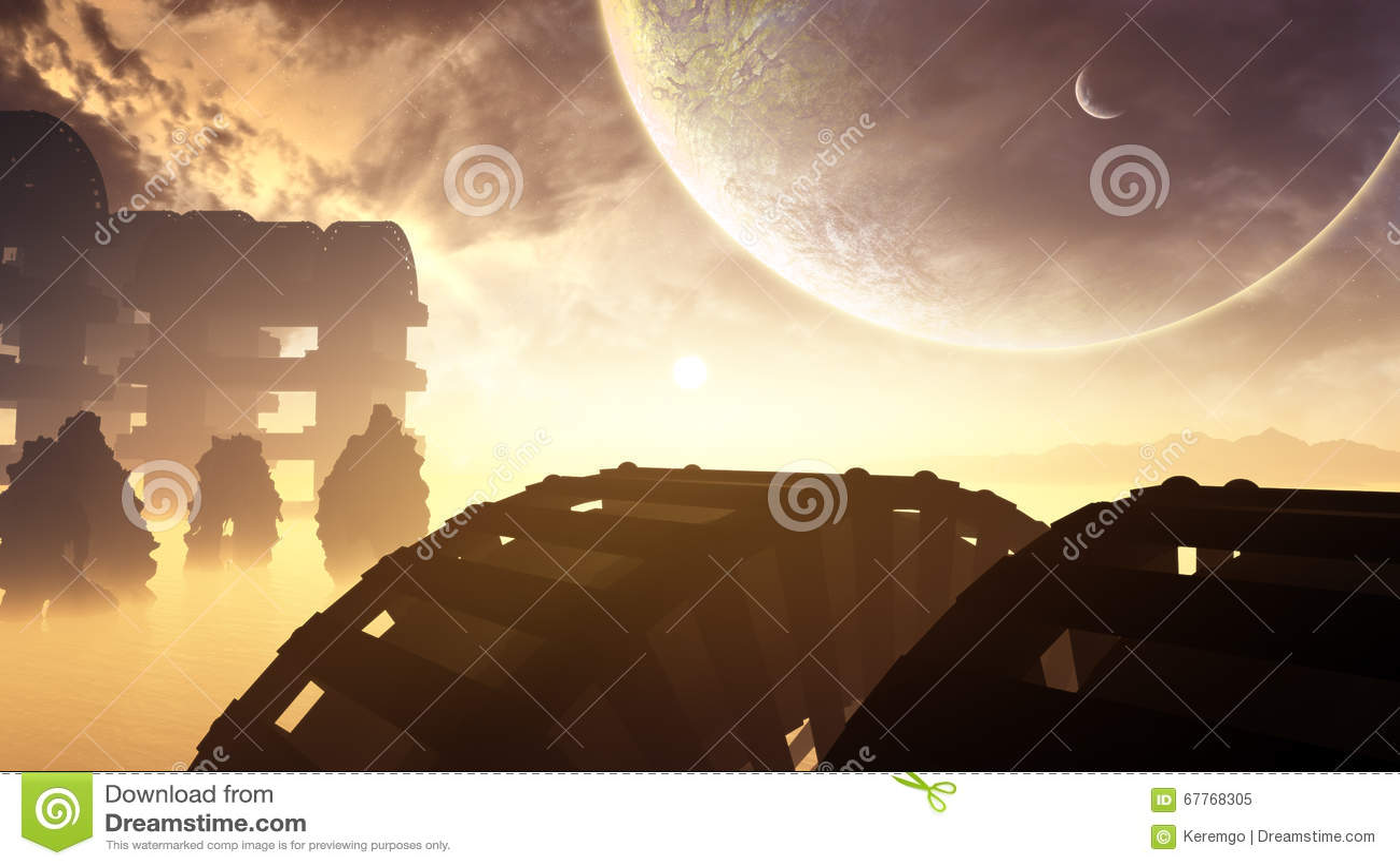 Obcy struktury W Odległej planecie