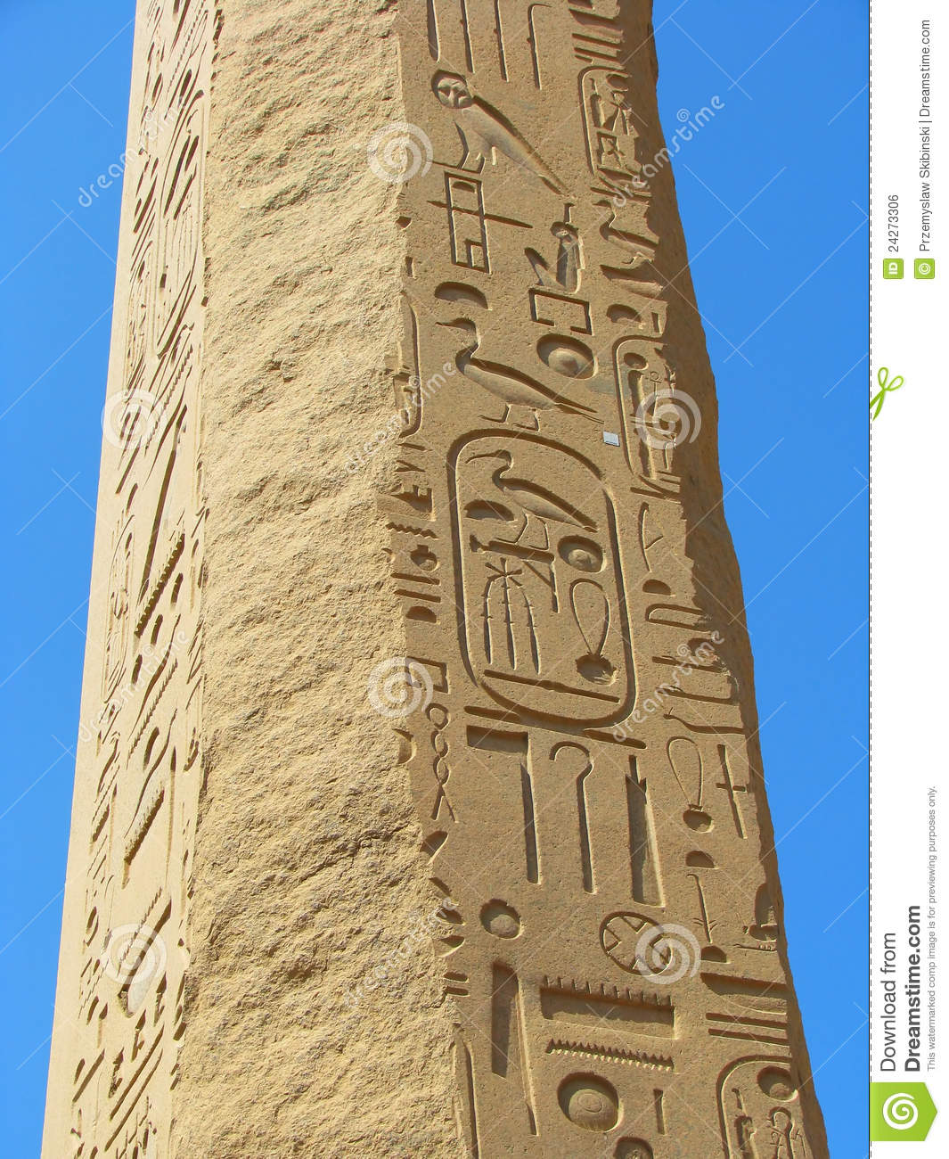 Obelisk with ancient egyptian hieroglyphics stock photo