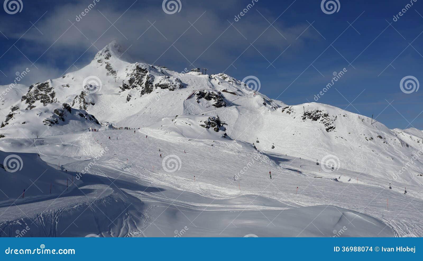 obertauern ski resort , austria stock photo - image of obertauern