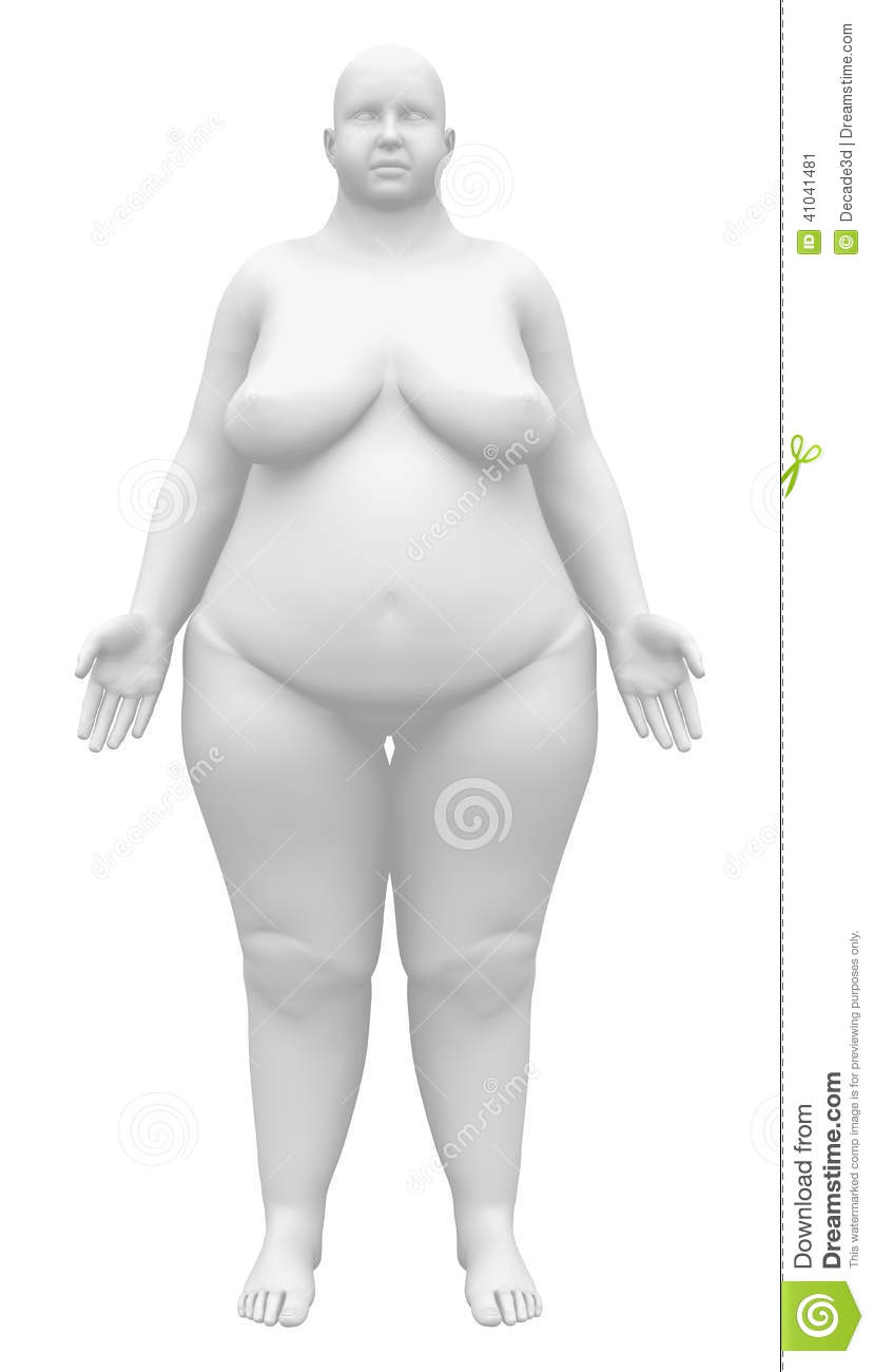 Obese Anatomy Female Figure - Front View Stock Illustration ...