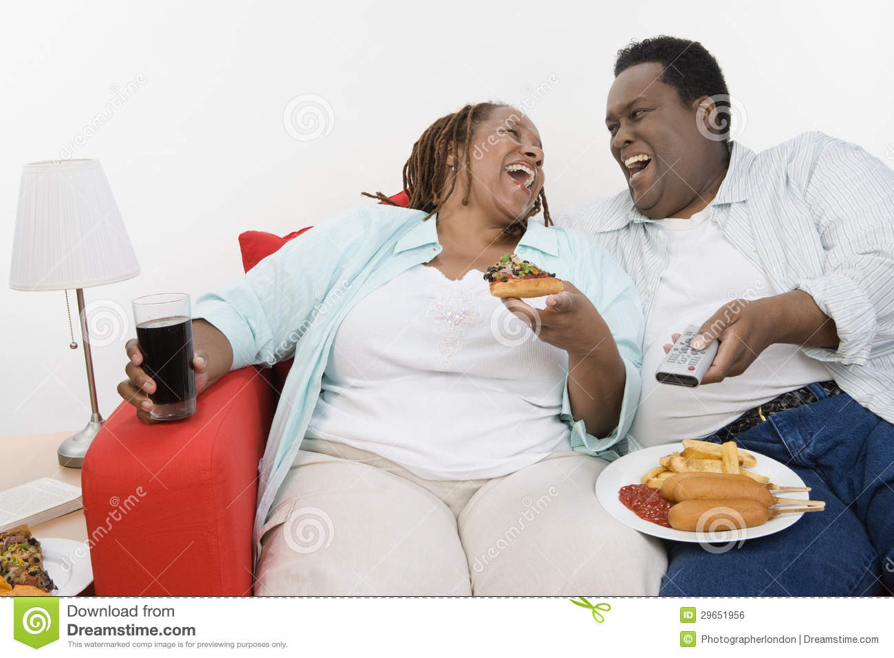 Unhealthy Food Plate An Obese Couple Laughi...